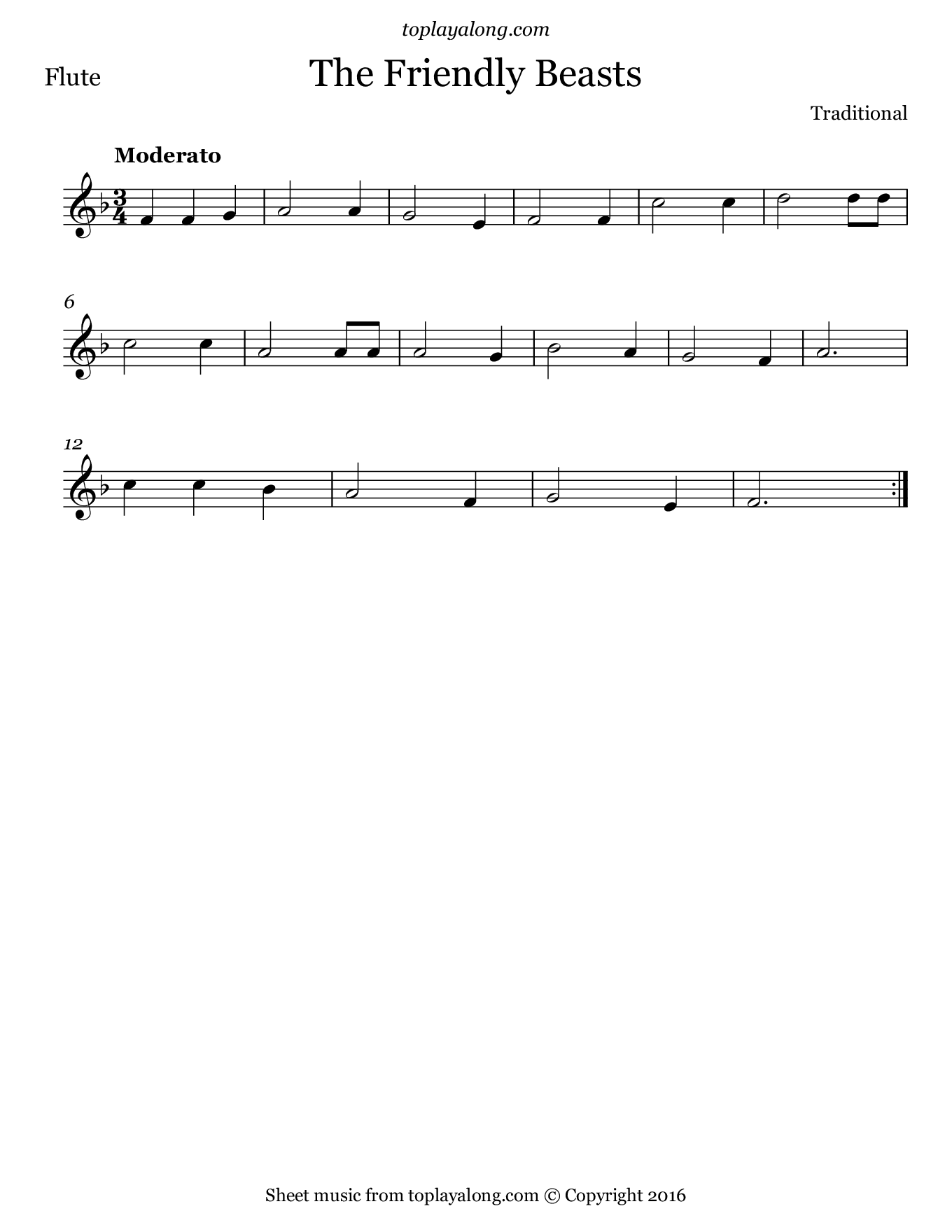 The Friendly Beasts. Sheet music for Flute, page 1.
