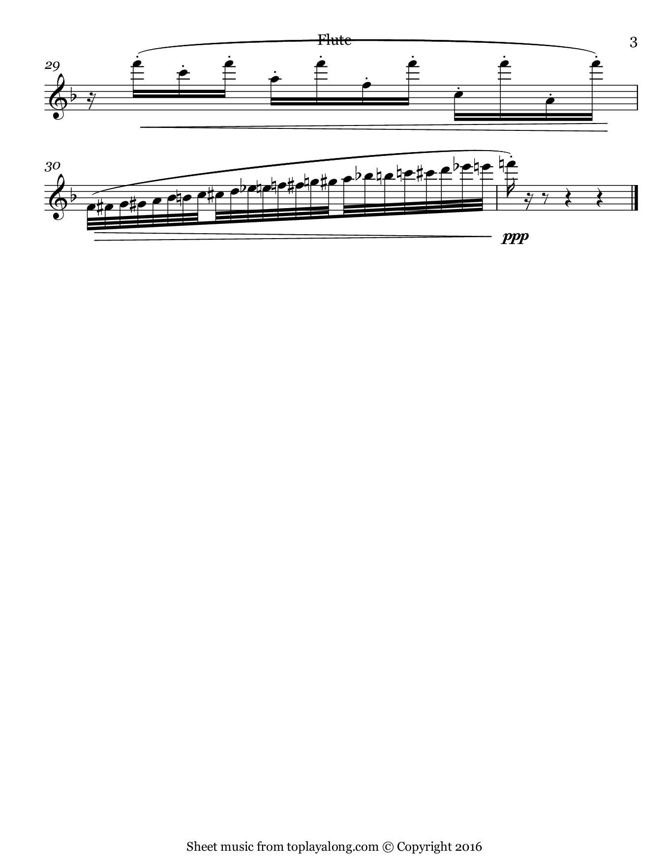 Volière (Aviary) from The Carnival of the Animals by Saint-Saëns. Sheet music for Flute, page 3.