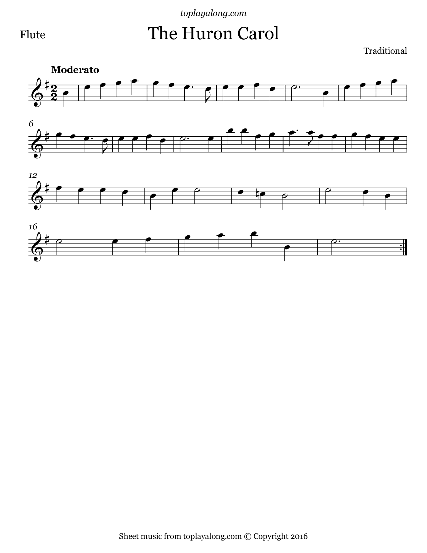 Huron Carol. Sheet music for Flute, page 1.