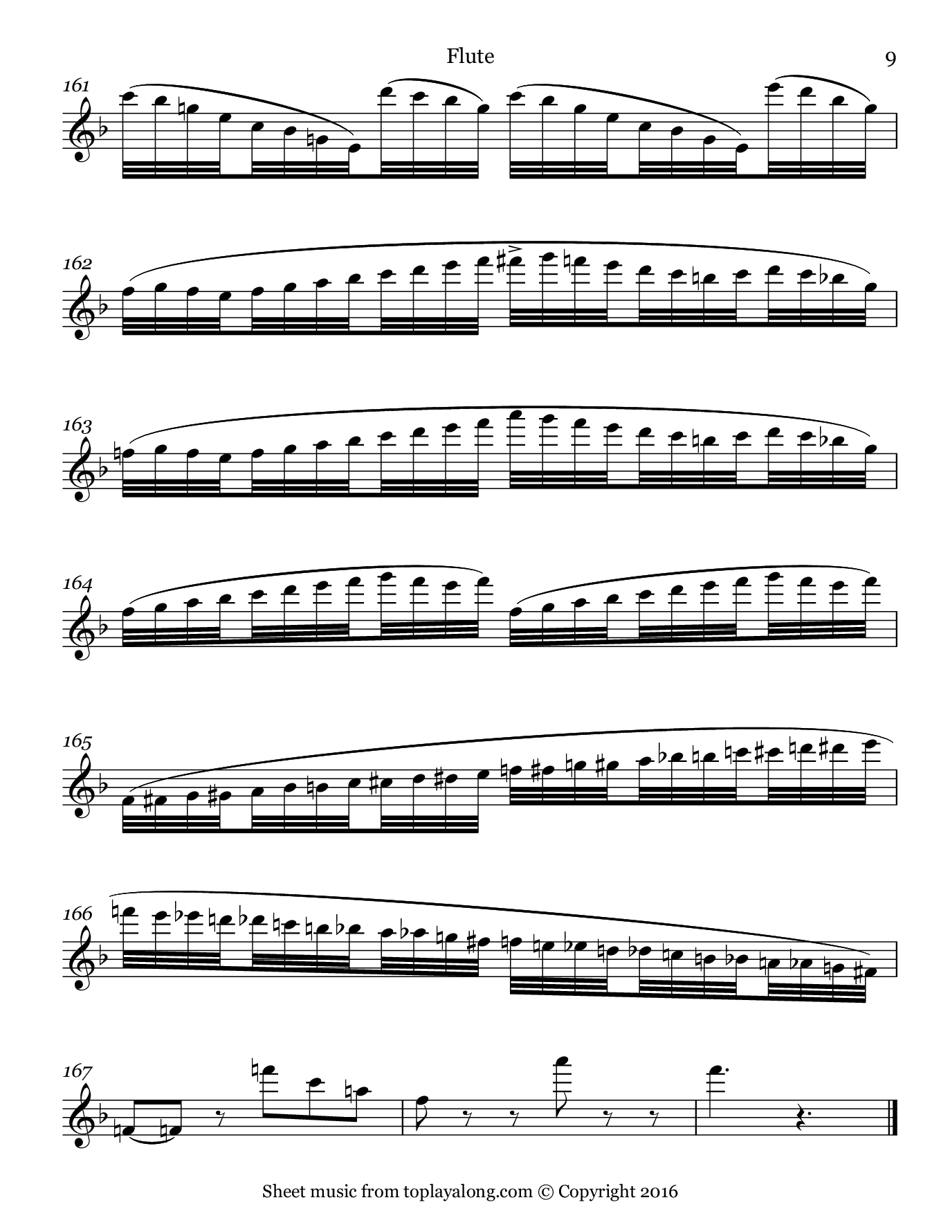 Carnival of Venice by Briccialdi. Sheet music for Flute, page 9.