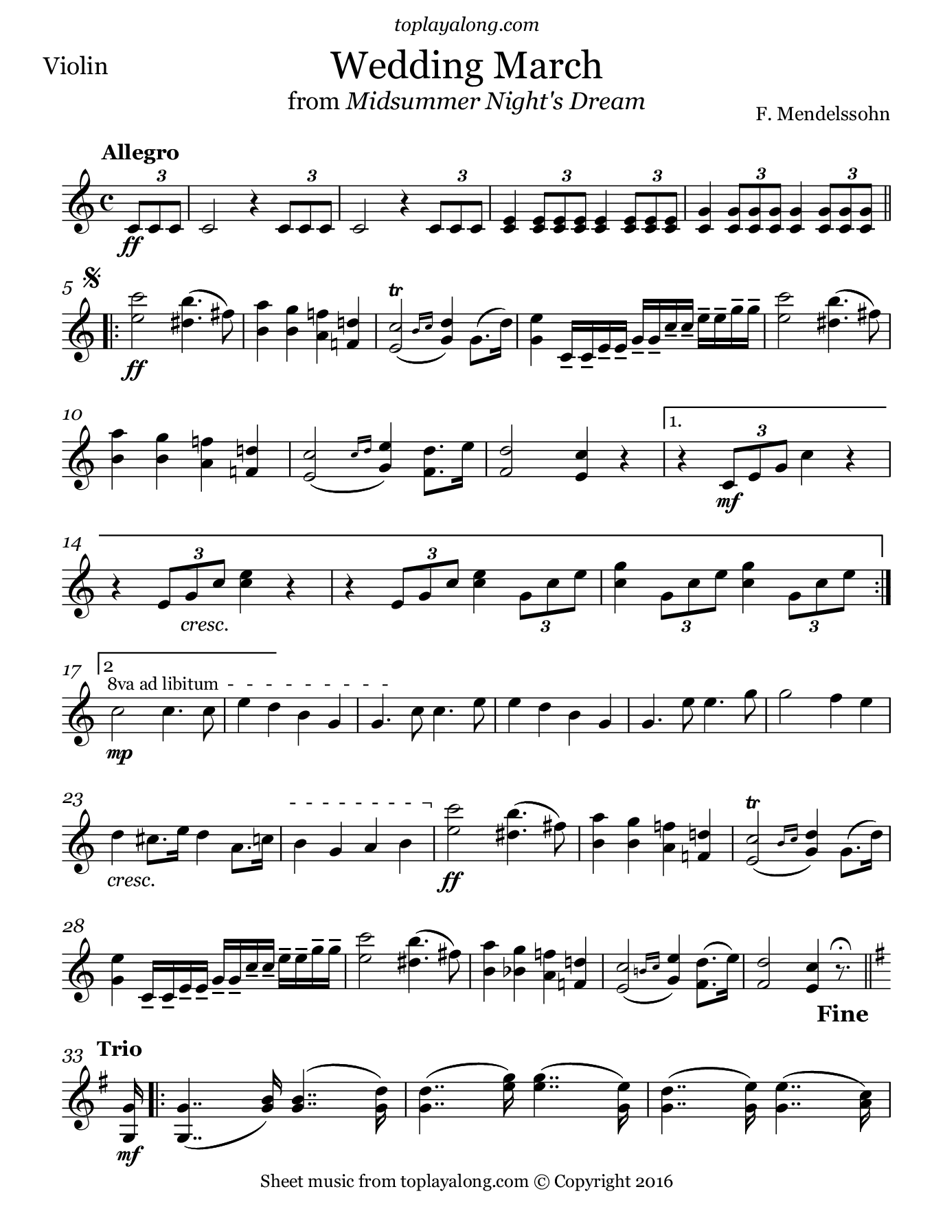 Wedding March from Midsummer Night's Dream by Mendelssohn. Sheet music for Violin, page 1.