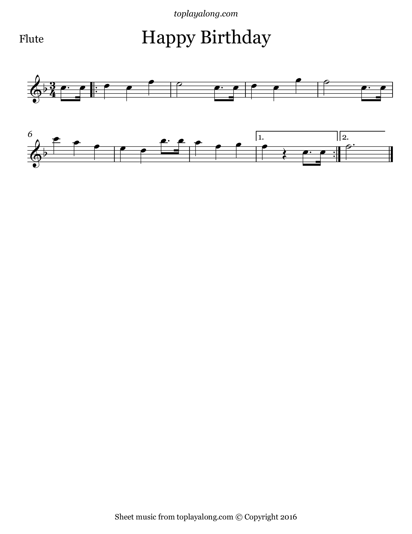 Happy Birthday. Sheet music for Flute, page 1.