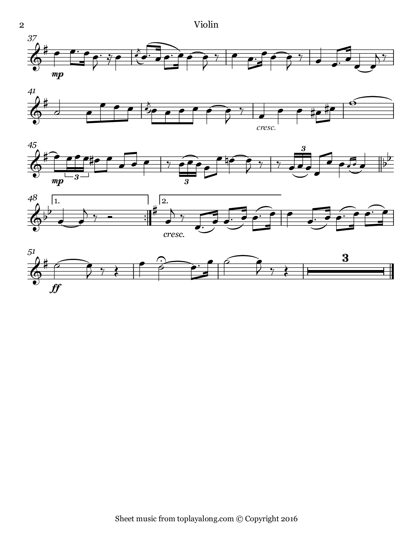 Toreador's Song from Carmen by Bizet. Sheet music for Violin, page 2.