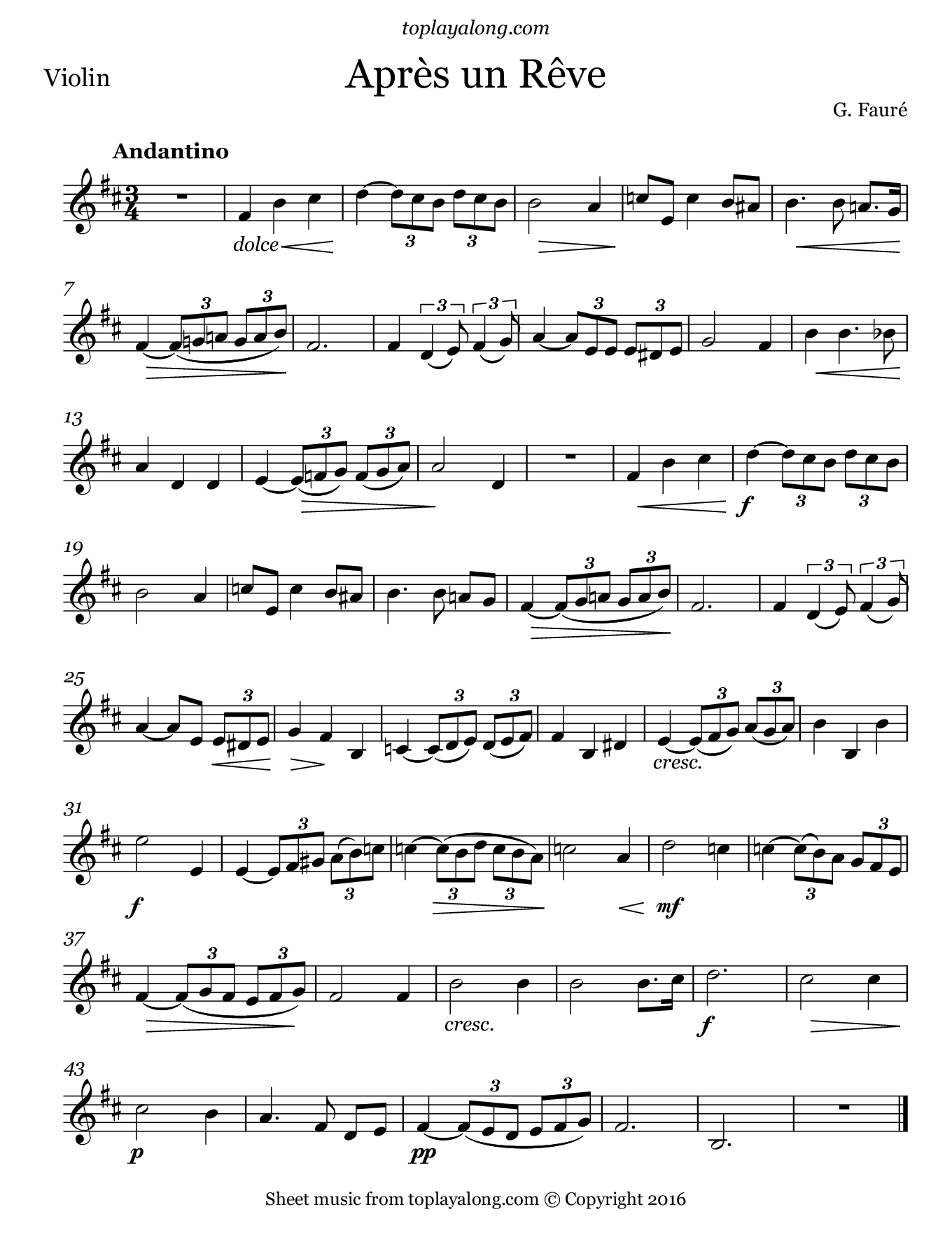 Après un rêve by Fauré. Sheet music for Violin, page 1.