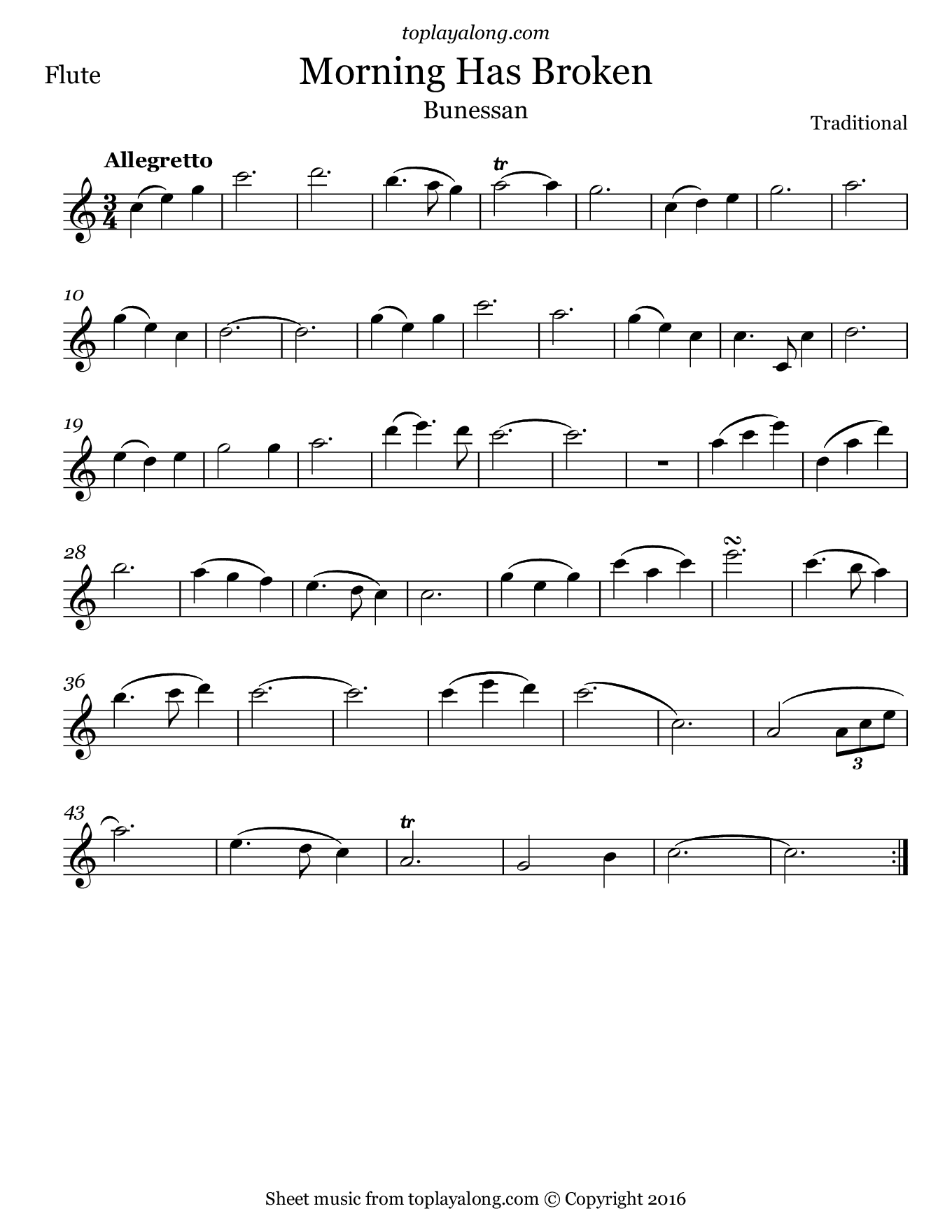 Morning Has Broken (Bunessan). Sheet music for Flute, page 1.