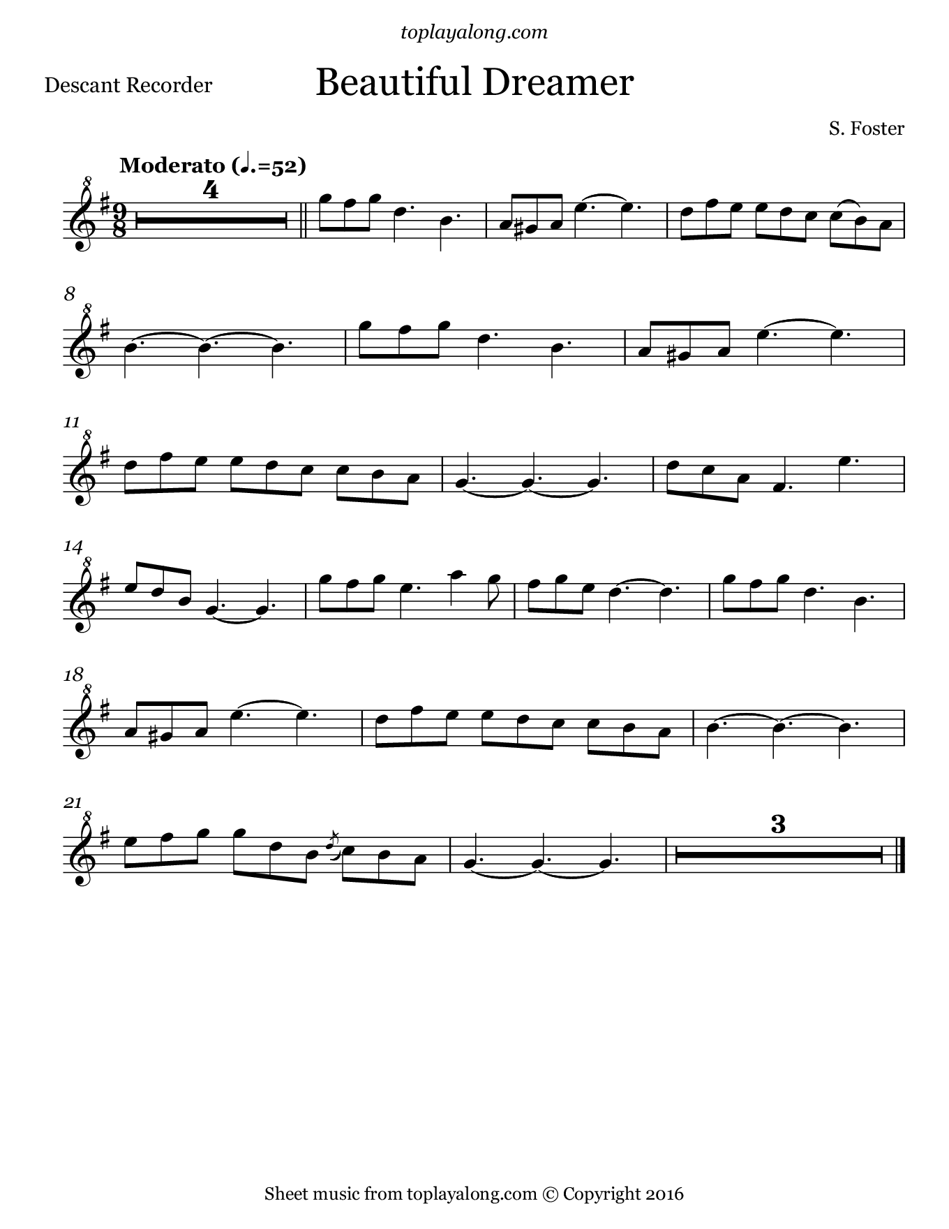 Beautiful Dreamer by Foster. Sheet music for Recorder, page 1.