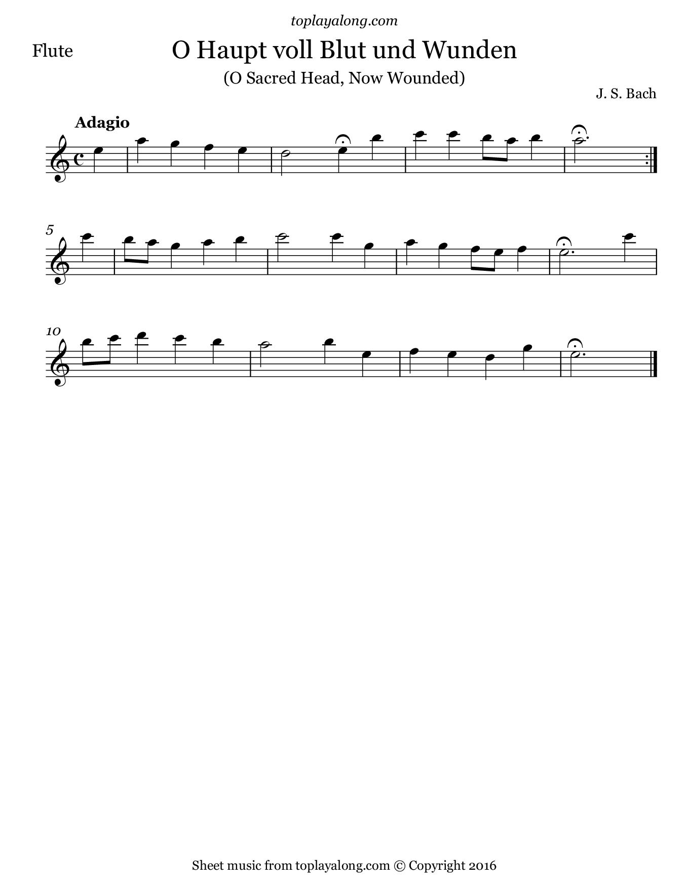 O Sacred Head, Now Wounded by J. S. Bach. Sheet music for Flute, page 1.