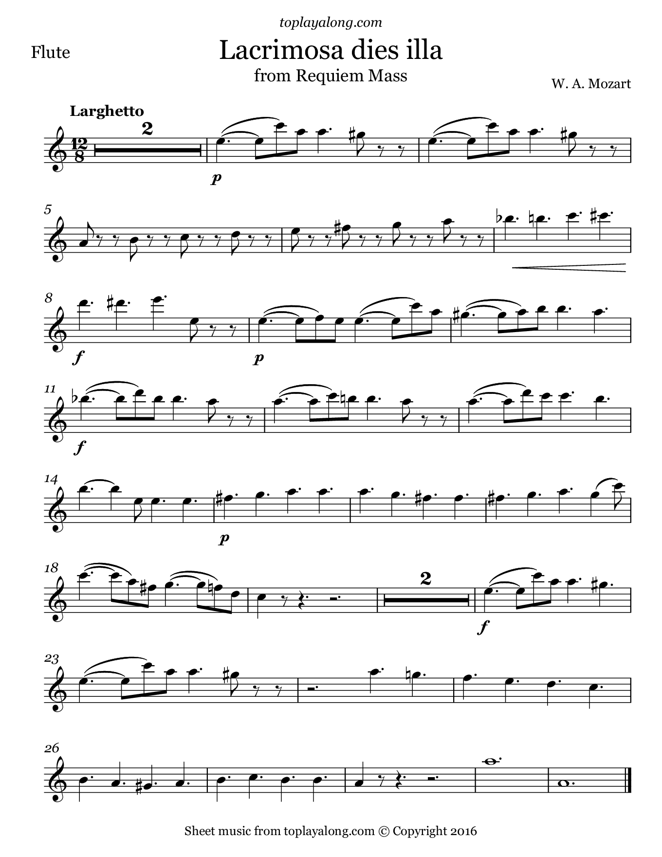 Lacrimosa from Requiem Mass by Mozart. Sheet music for Flute, page 1.