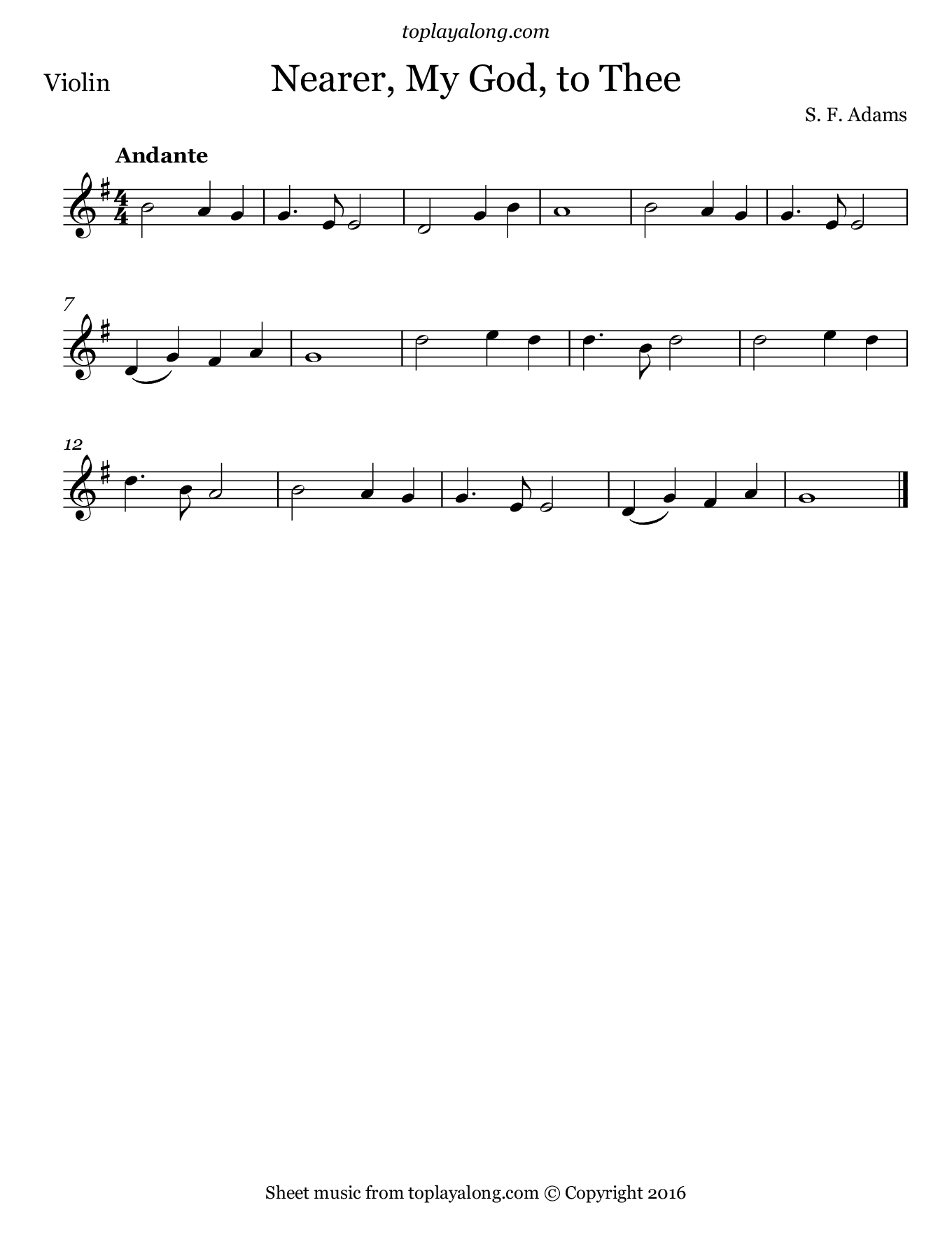 Nearer, My God, to Thee. Sheet music for Violin, page 1.