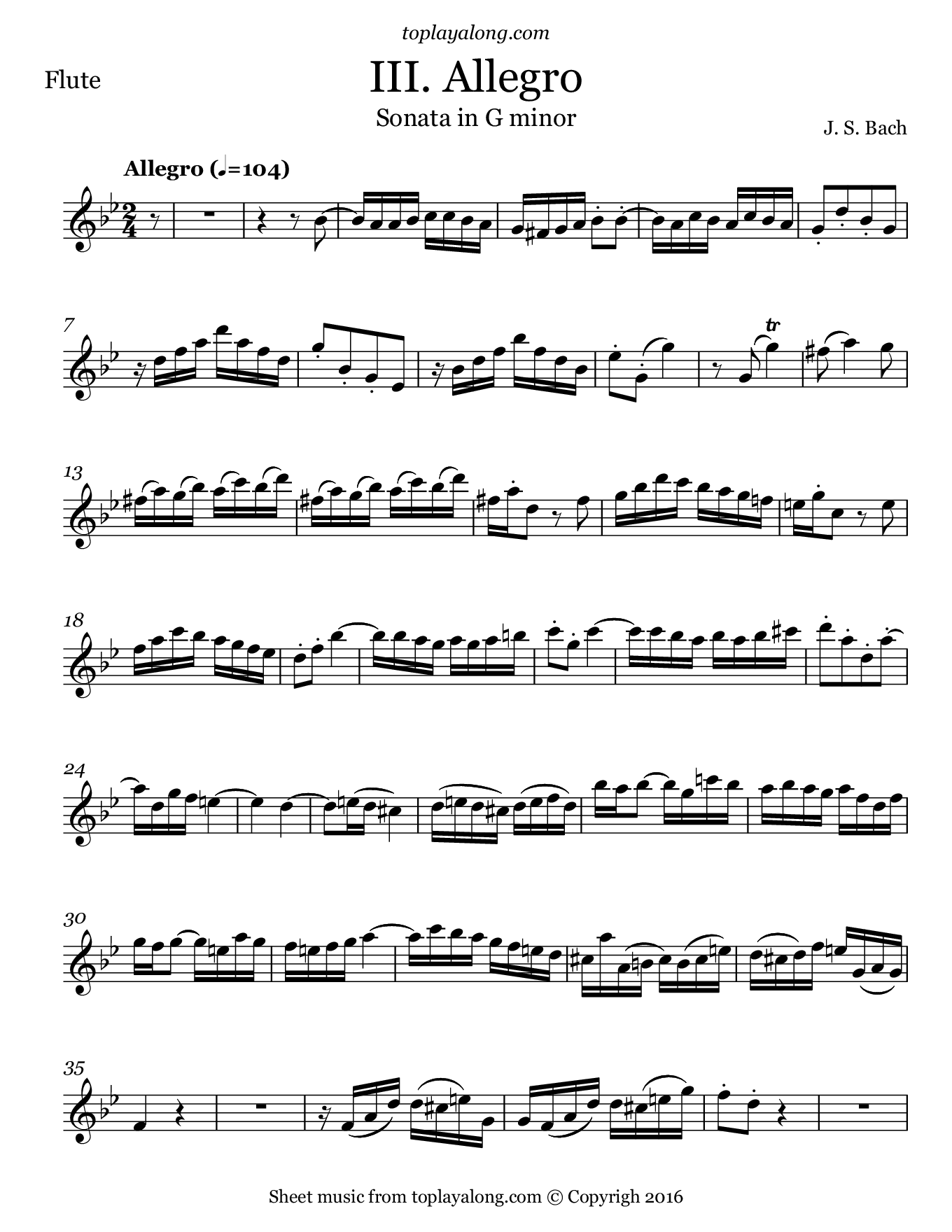Sonata in G minor BWV 1020 (III. Allegro) by J. S. Bach. Sheet music for Flute, page 1.