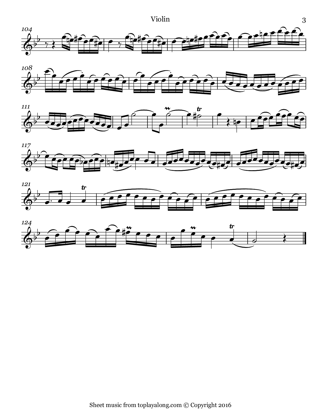 Sonata in G minor BWV 1020 (I. Allegro) by J. S. Bach. Sheet music for Violin, page 3.