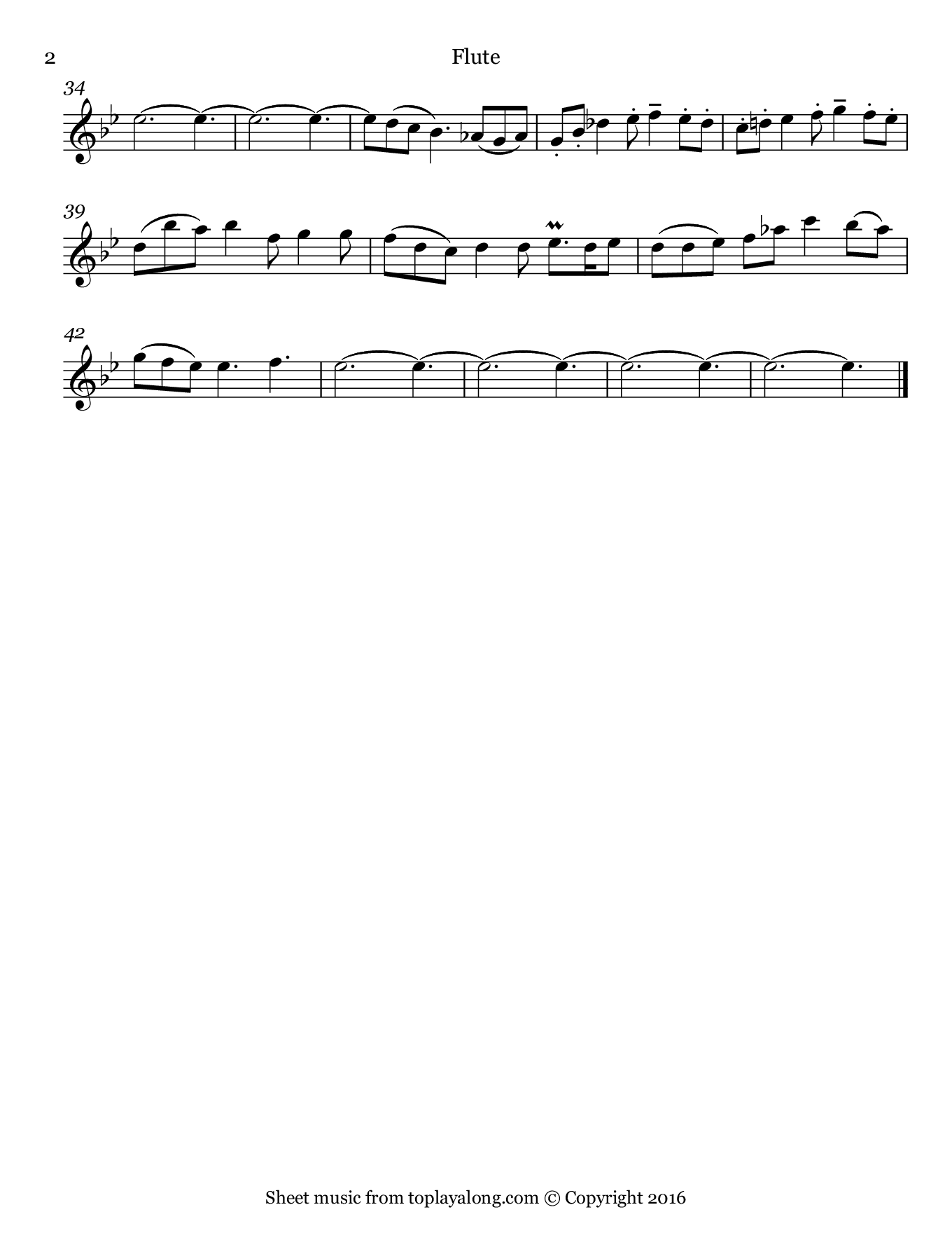Sonata in G minor BWV 1020 (II. Adagio) by J. S. Bach. Sheet music for Flute, page 2.
