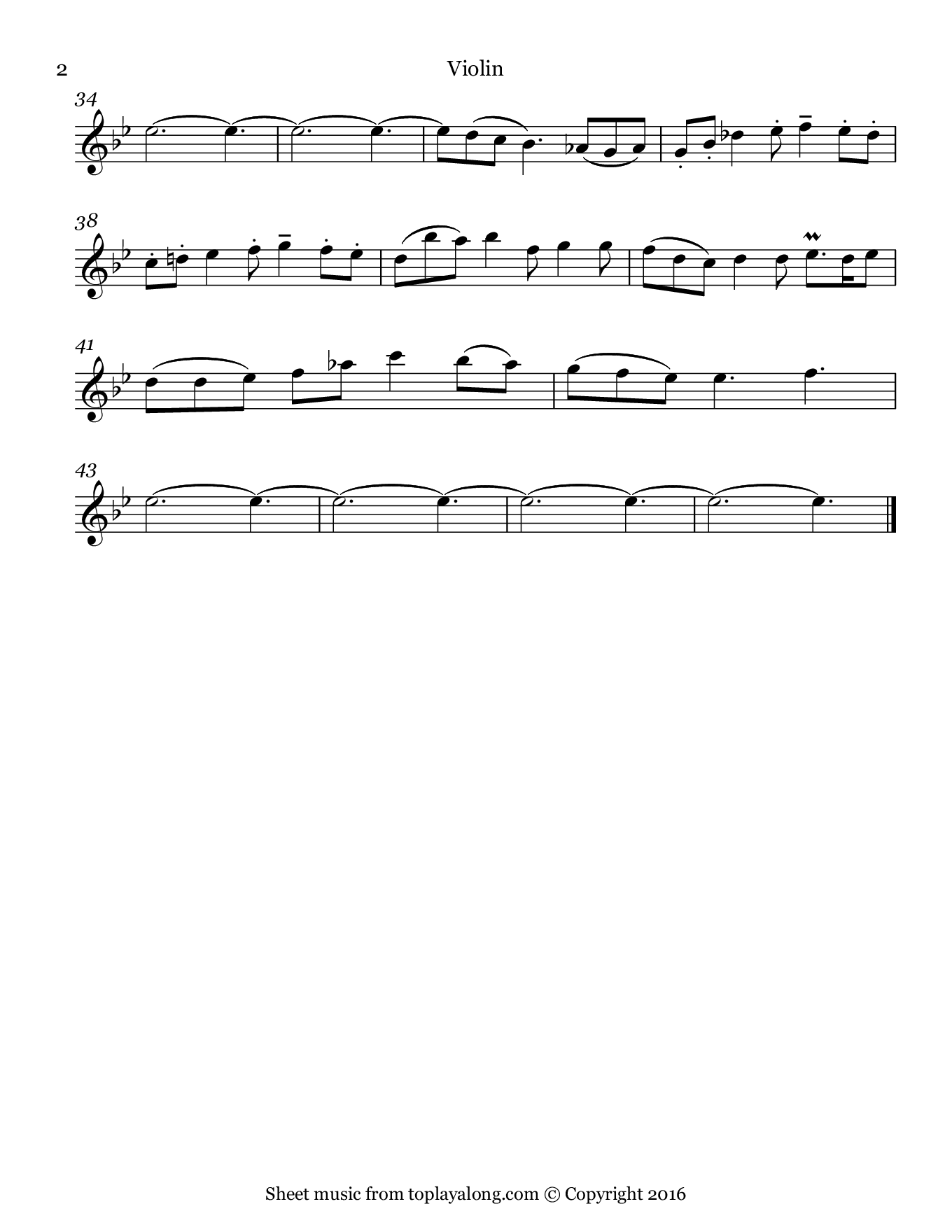 Sonata in G minor BWV 1020 (II. Adagio) by J. S. Bach. Sheet music for Violin, page 2.