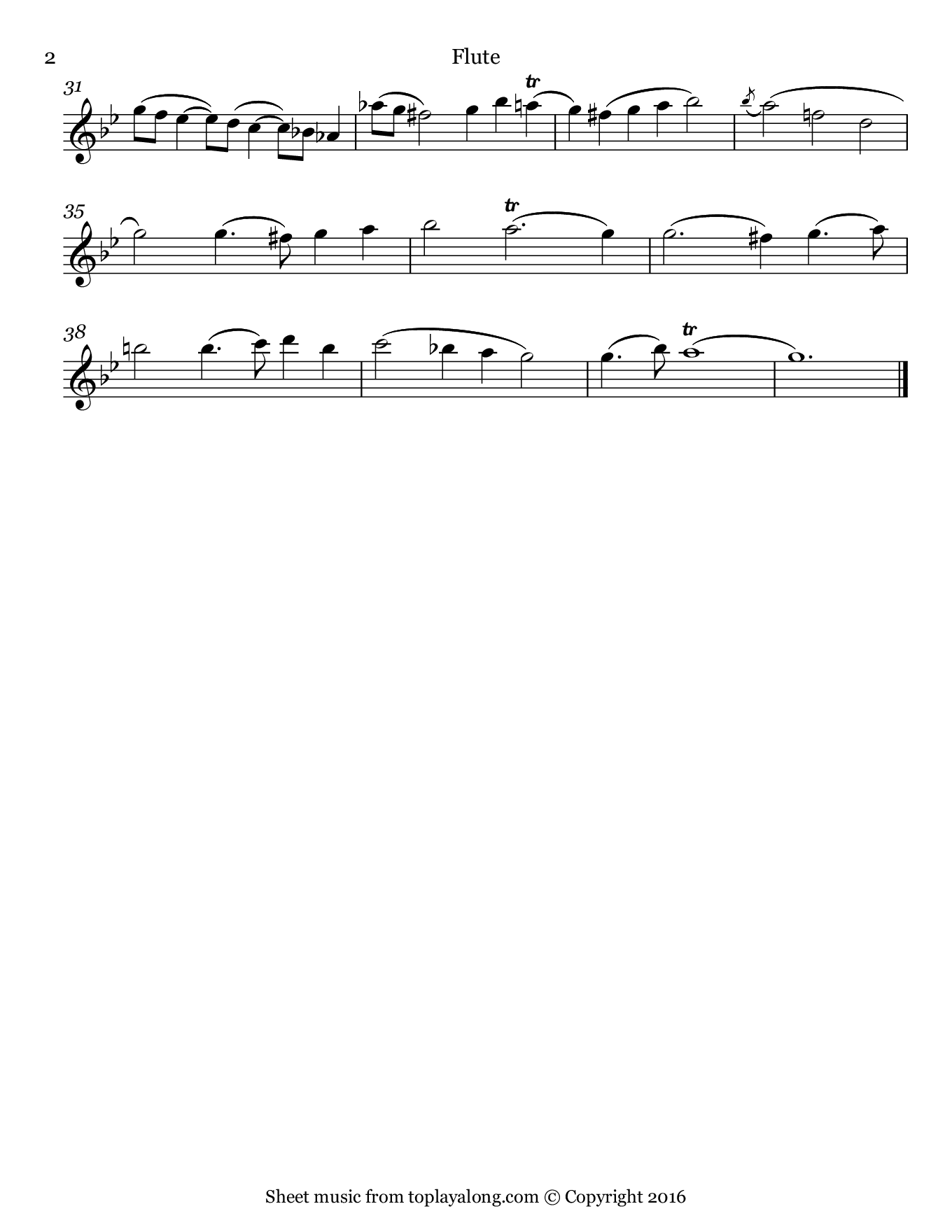 Chaconne by Vitali. Sheet music for Flute, page 2.