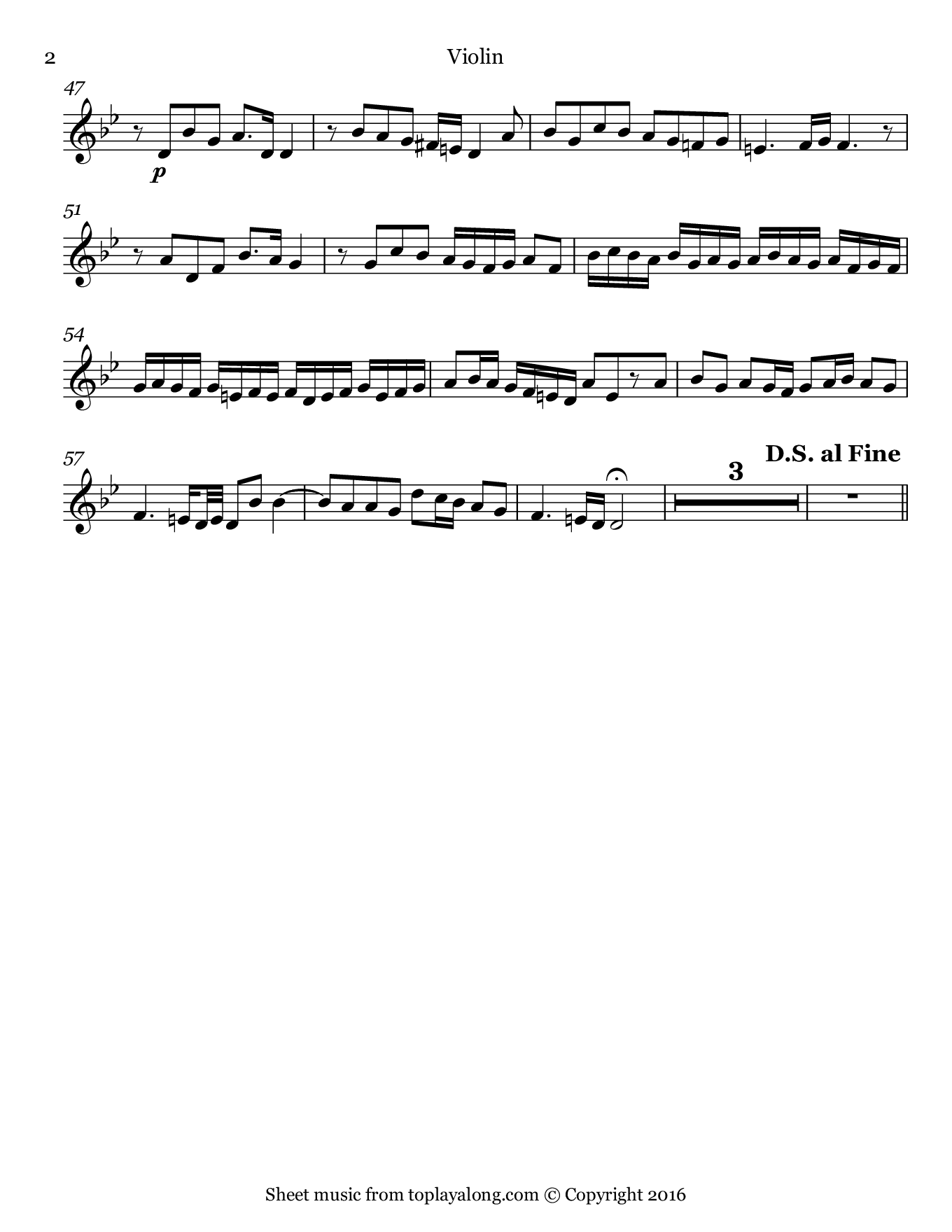Fammi Combattere from Orlando by Handel. Sheet music for Violin, page 2.