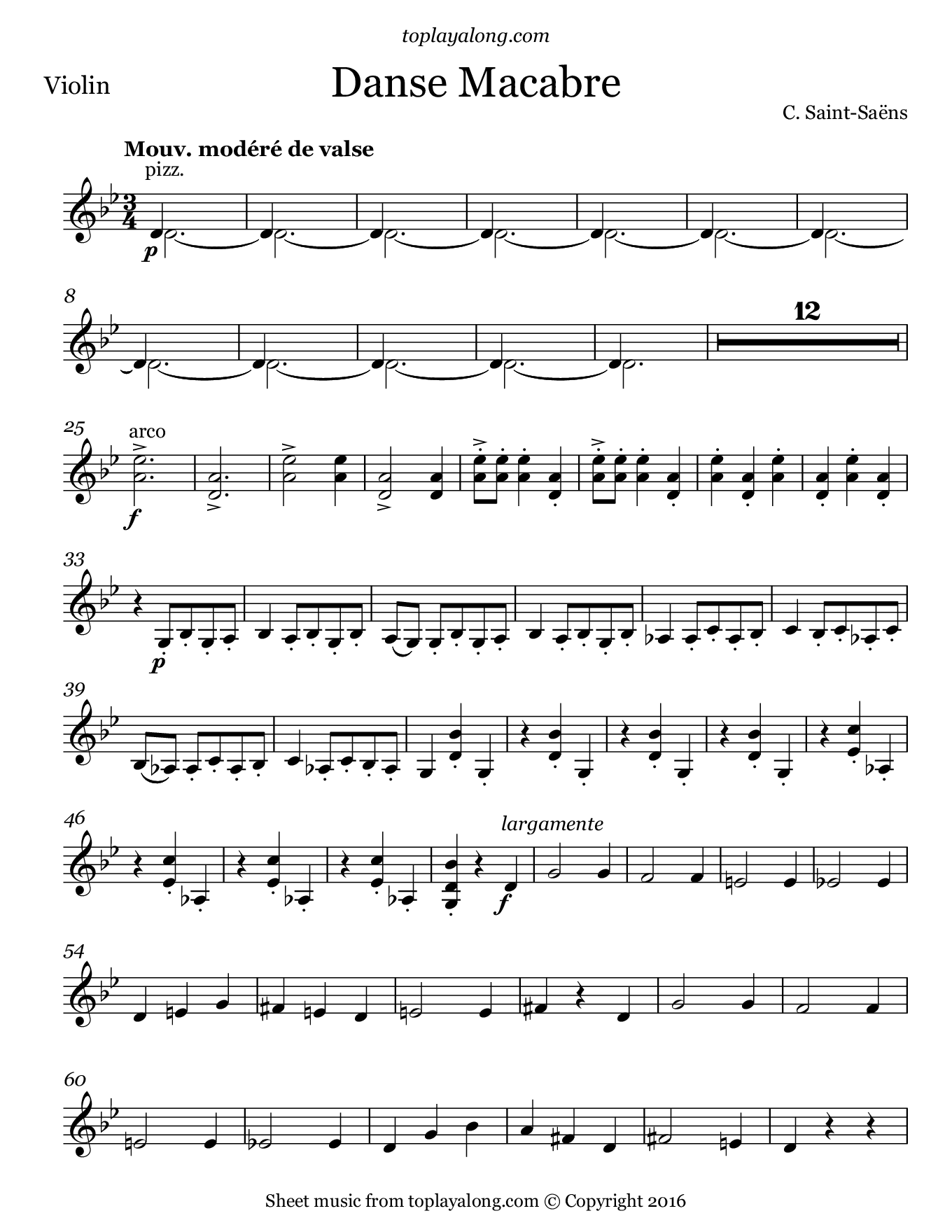 Danse Macabre by Saint-Saëns. Sheet music for Violin, page 1.