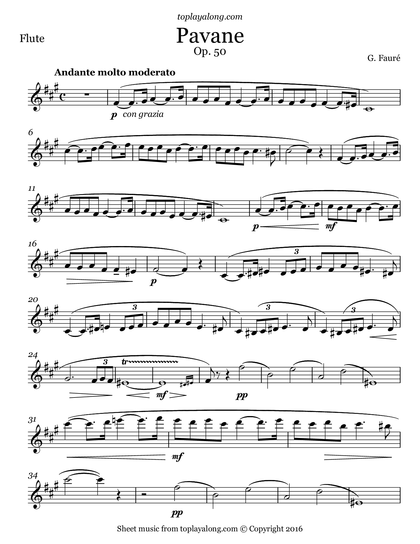 Pavane by Fauré. Sheet music for Flute, page 1.