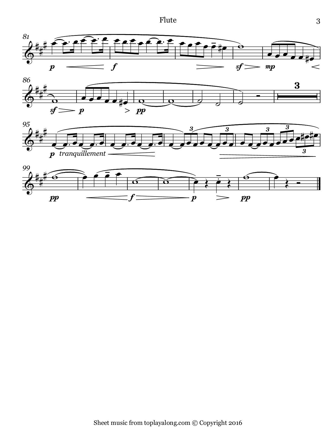 Pavane by Fauré. Sheet music for Flute, page 3.