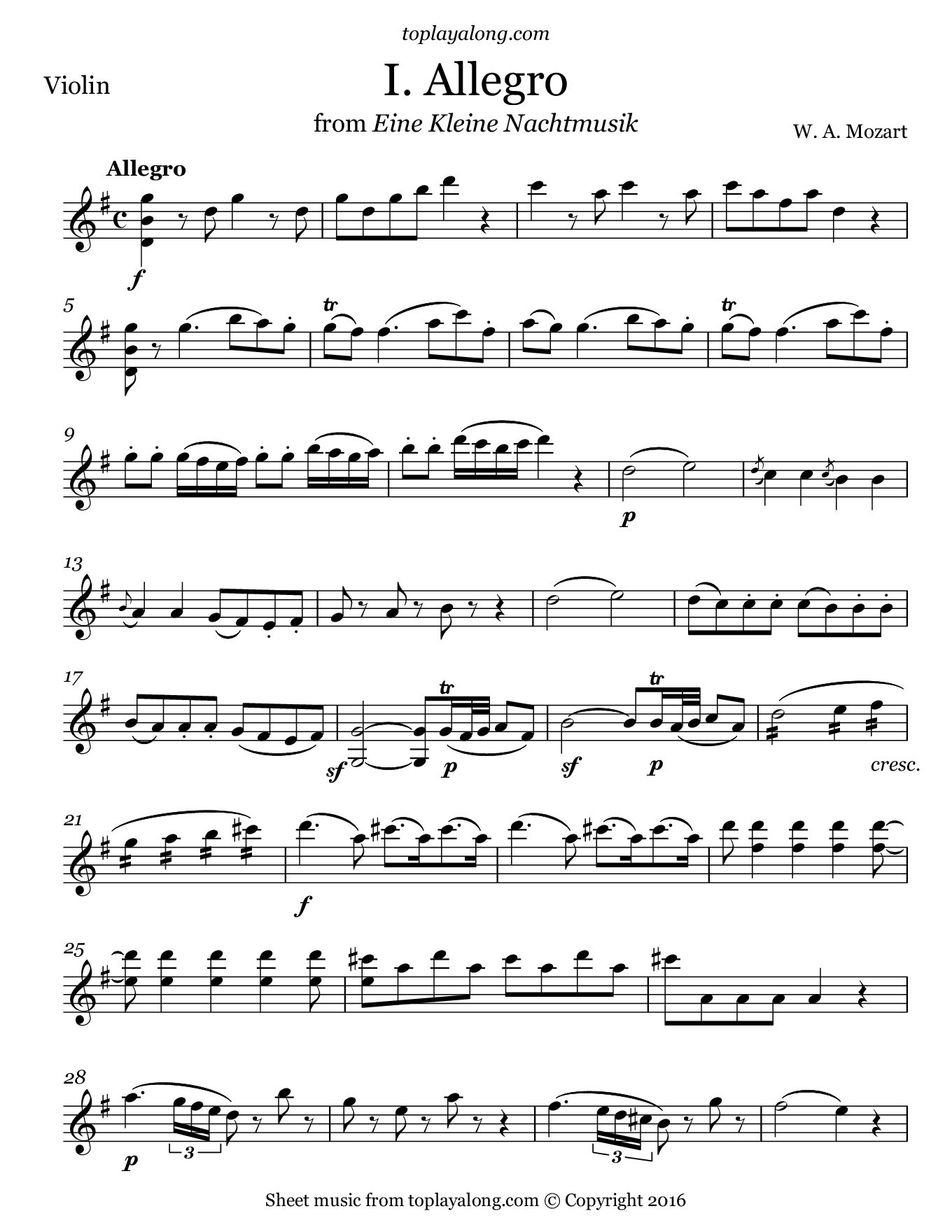 Eine Kleine Nachtmusik (I. Allegro) by Mozart. Sheet music for Violin, page 1.