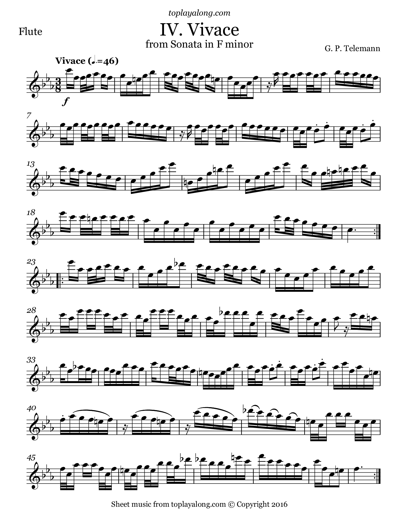Sonata in F minor (IV. Vivace) by Telemann. Sheet music for Flute, page 1.