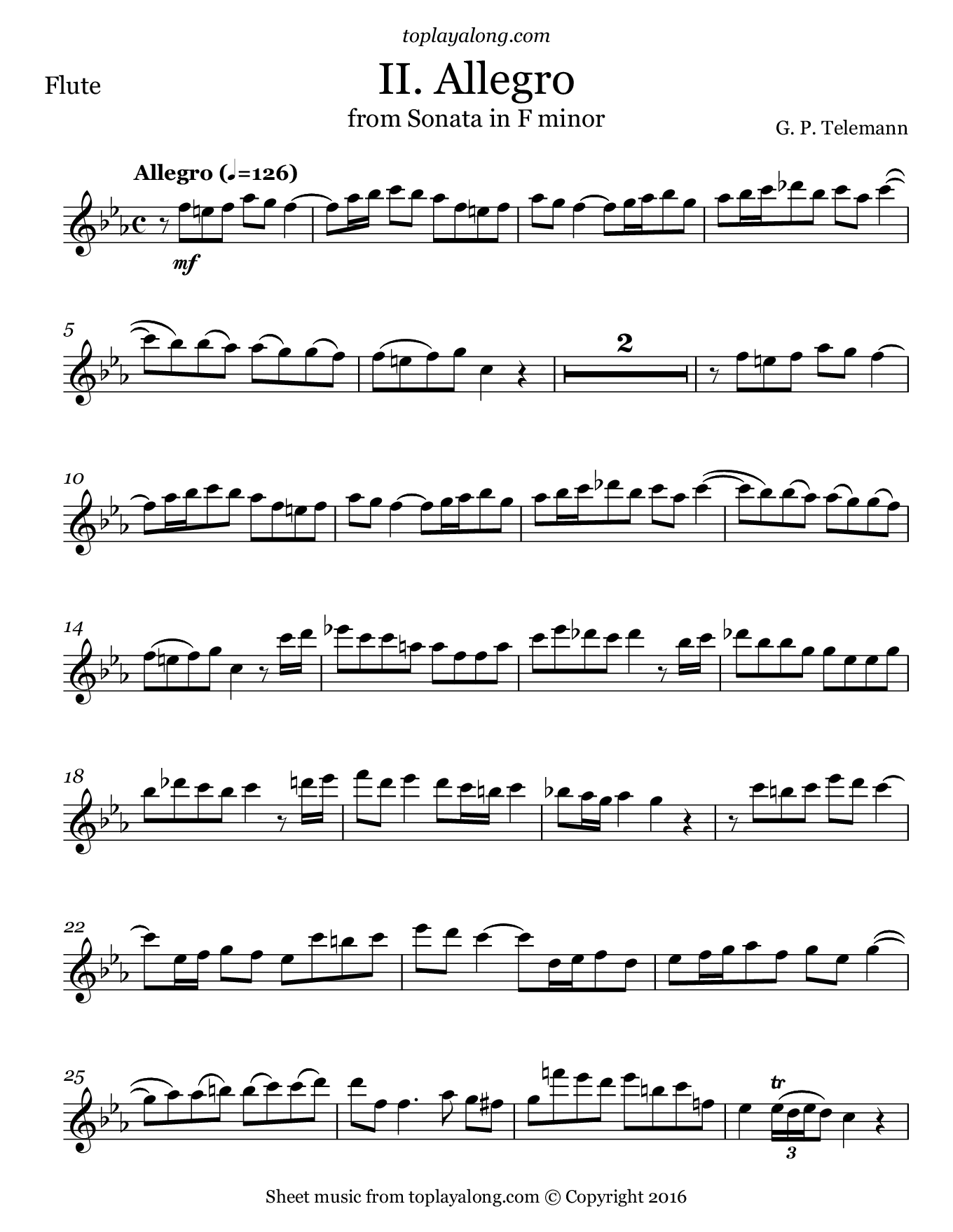 Sonata in F minor (II. Allegro) by Telemann. Sheet music for Flute, page 1.