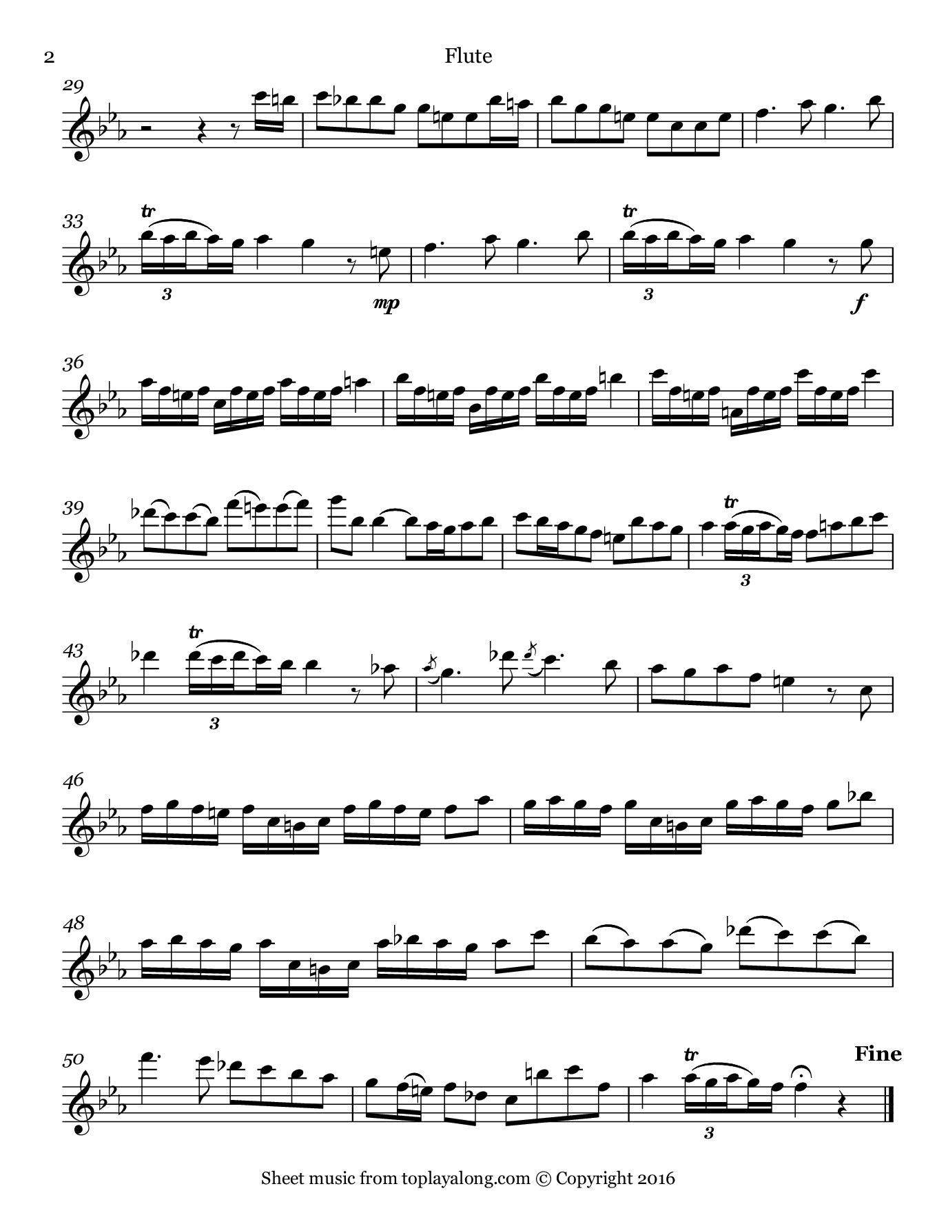 Sonata in F minor (II. Allegro) by Telemann. Sheet music for Flute, page 2.