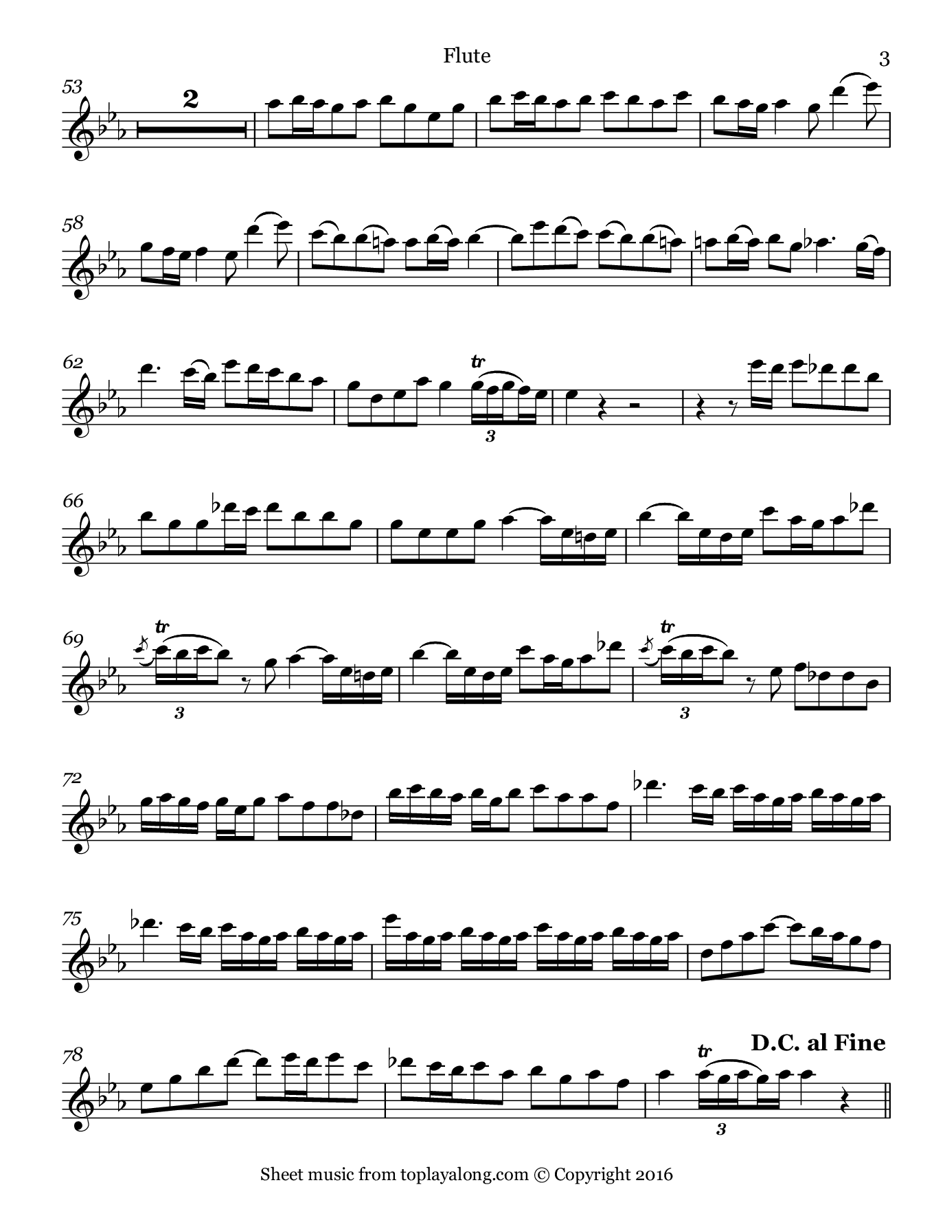 Sonata in F minor (II. Allegro) by Telemann. Sheet music for Flute, page 3.