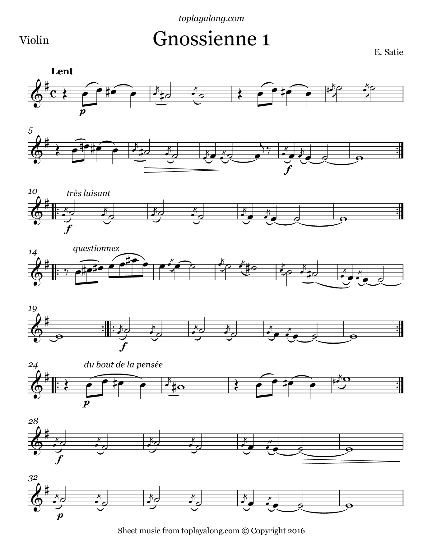 Gnossienne No. 1 by Satie. Sheet music for Violin, page 1.