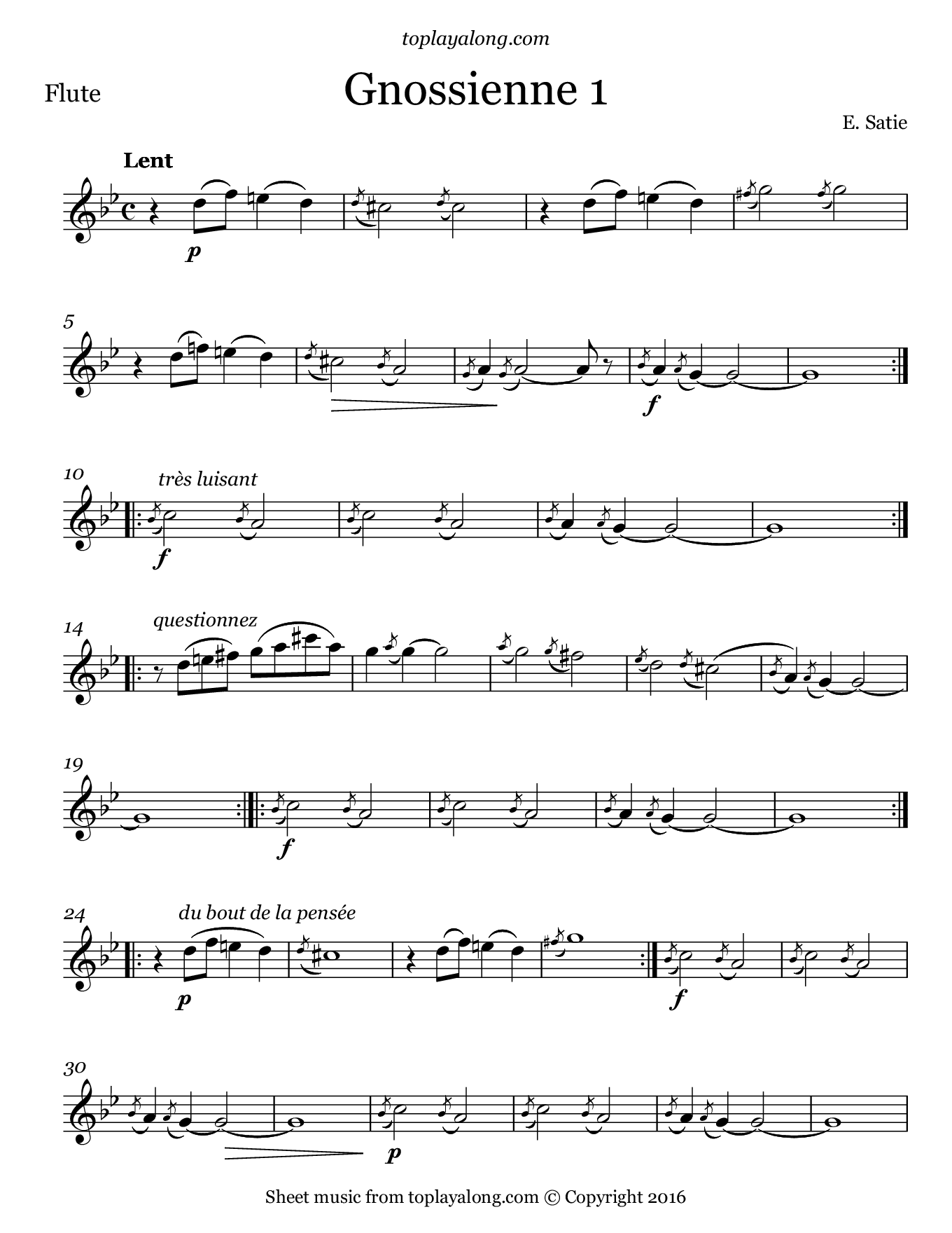 Gnossienne No. 1 by Satie. Sheet music for Flute, page 1.