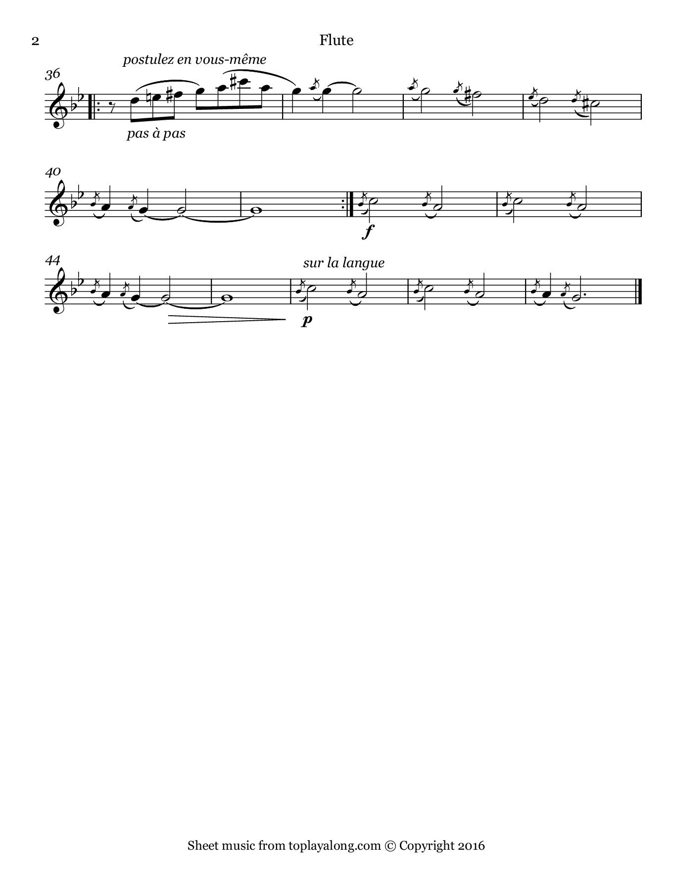 Gnossienne No. 1 by Satie. Sheet music for Flute, page 2.