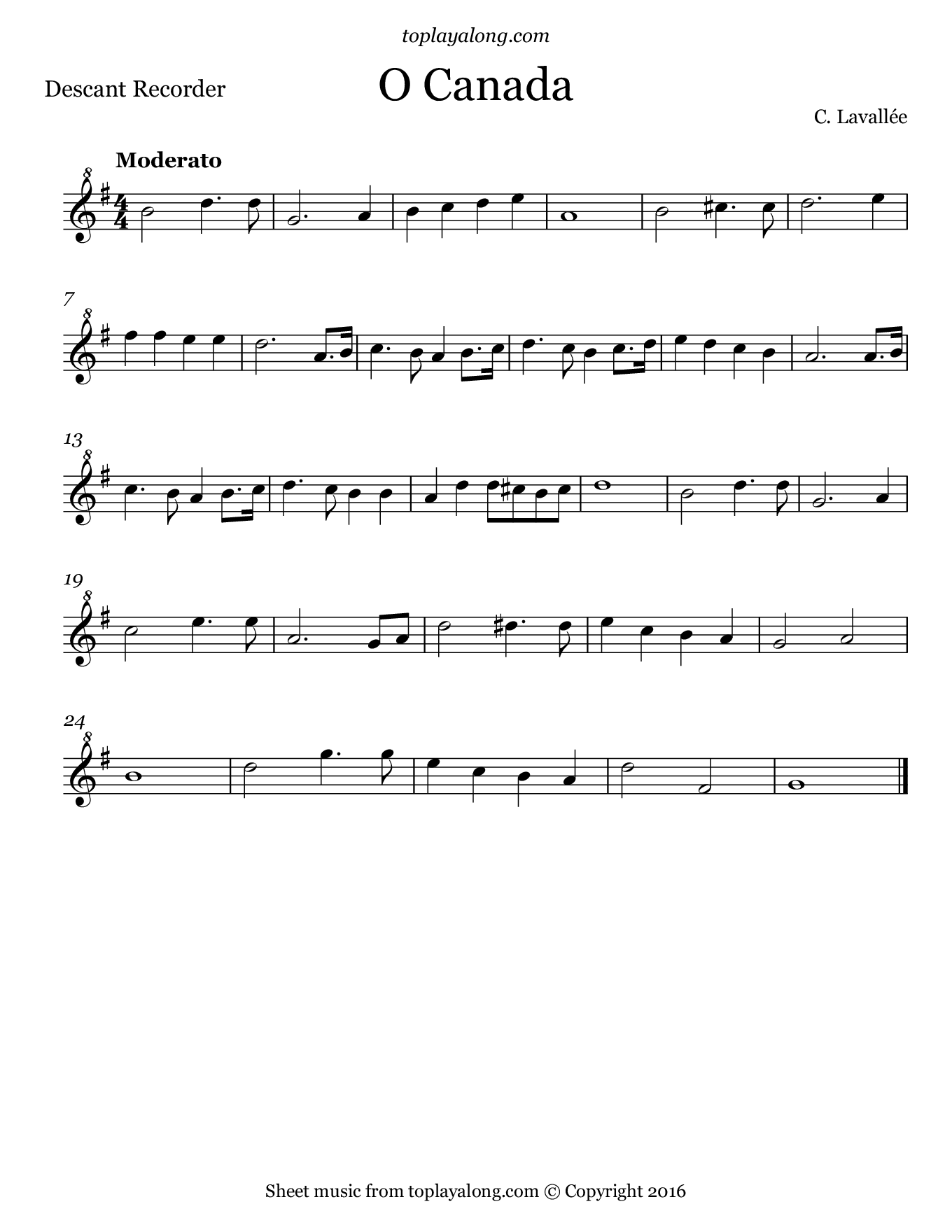 O Canada. Sheet music for Recorder, page 1.