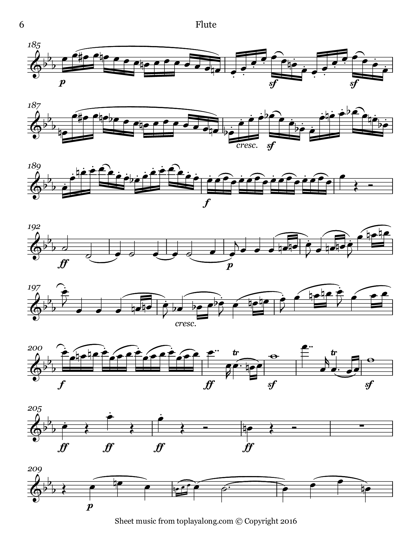Violin Sonata No. 7 (I. Allegro) by Beethoven. Sheet music for Flute, page 6.