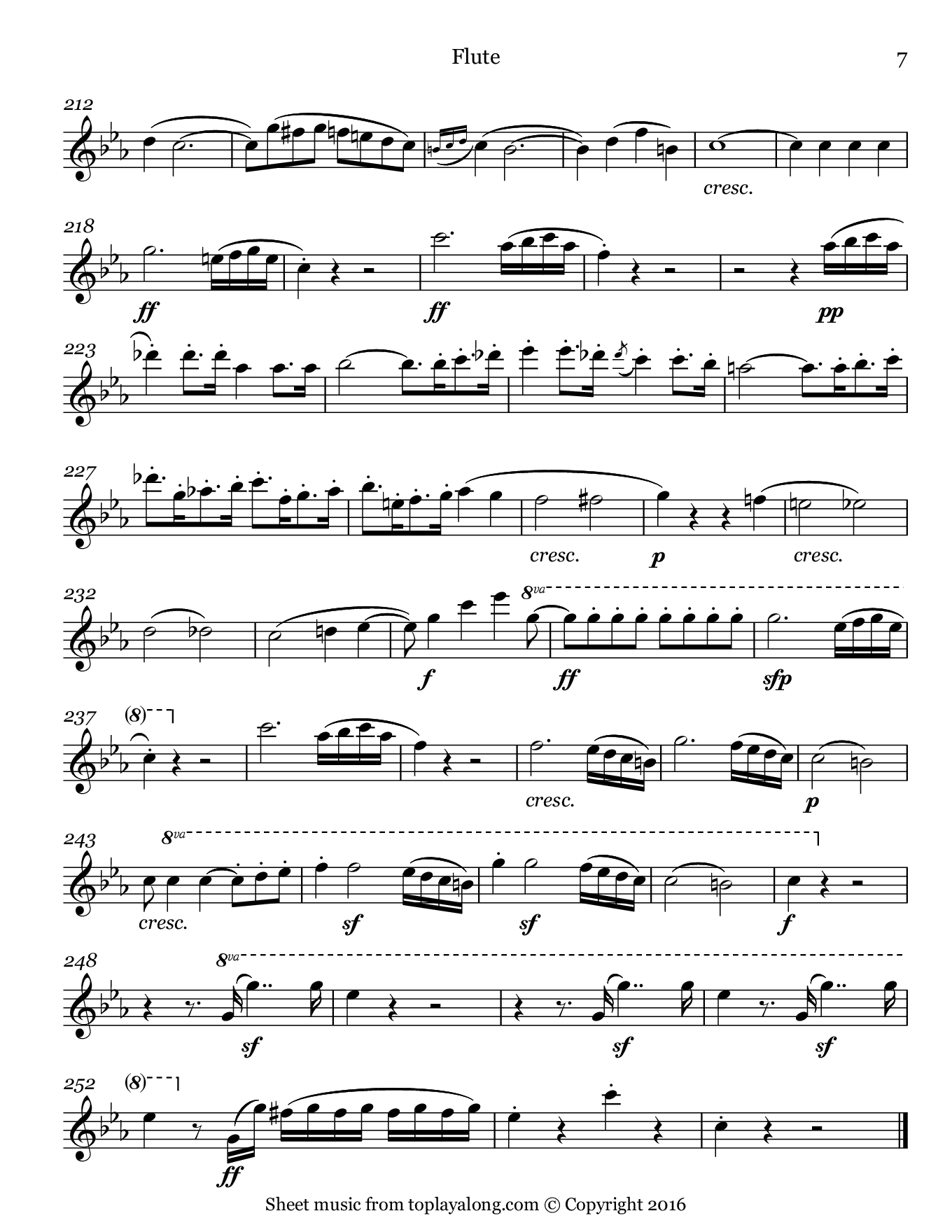 Violin Sonata No. 7 (I. Allegro) by Beethoven. Sheet music for Flute, page 7.