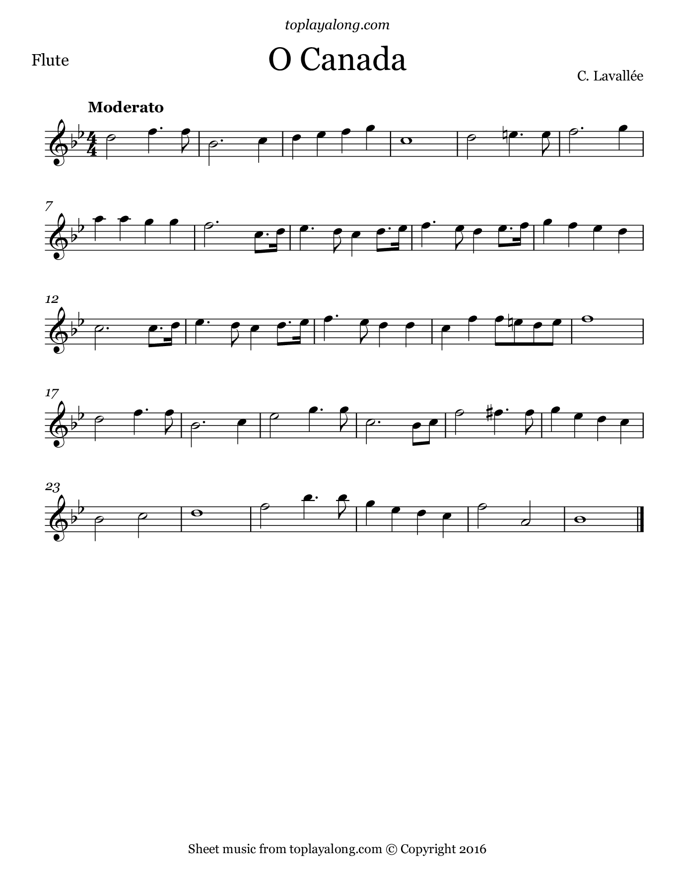 O Canada. Sheet music for Flute, page 1.