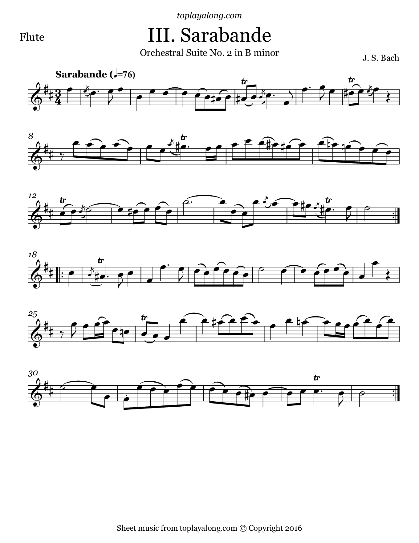 Orchestral Suite No. 2 (III. Sarabande) by J. S. Bach. Sheet music for Flute, page 1.