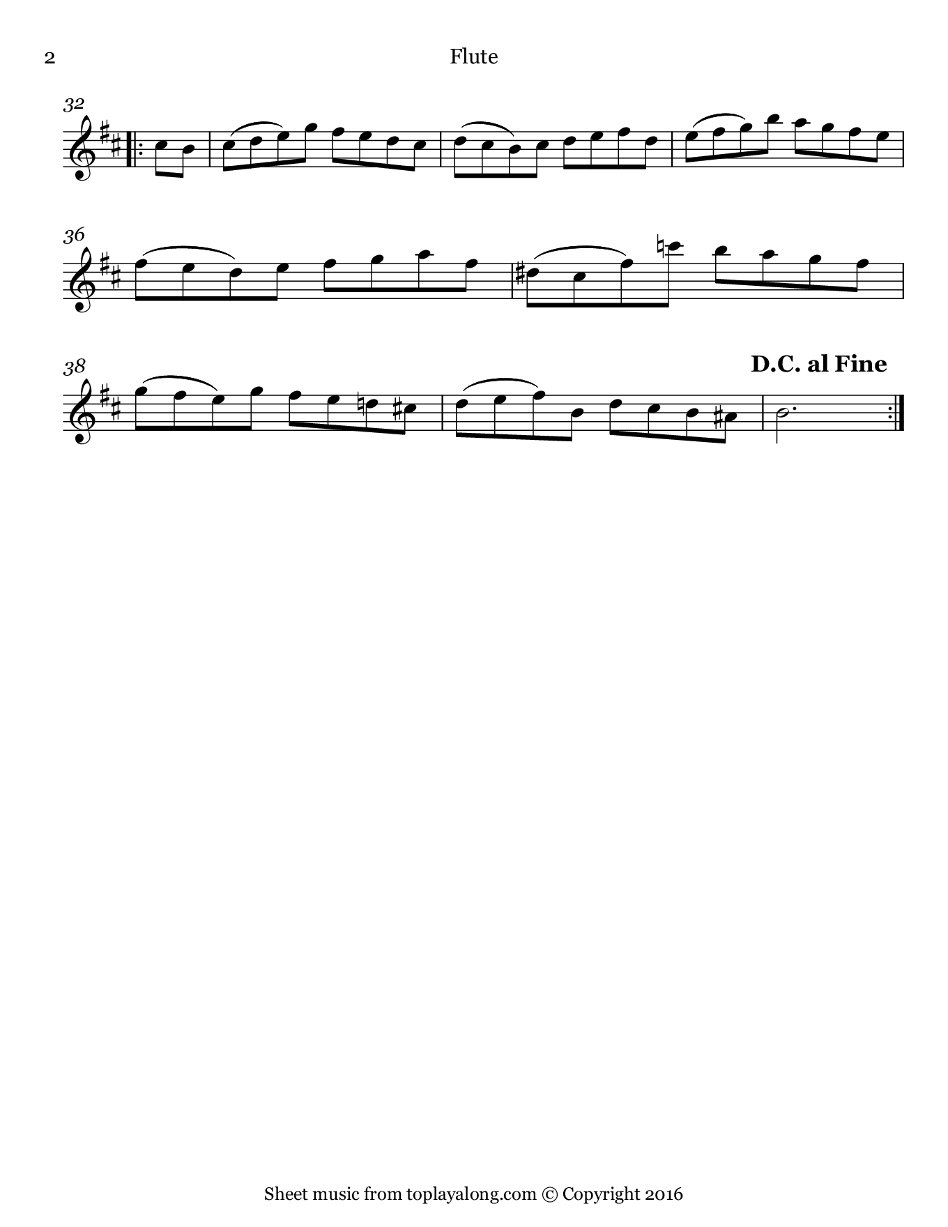 Orchestral Suite No. 2 (IV. Bourrée) by J. S. Bach. Sheet music for Flute, page 2.