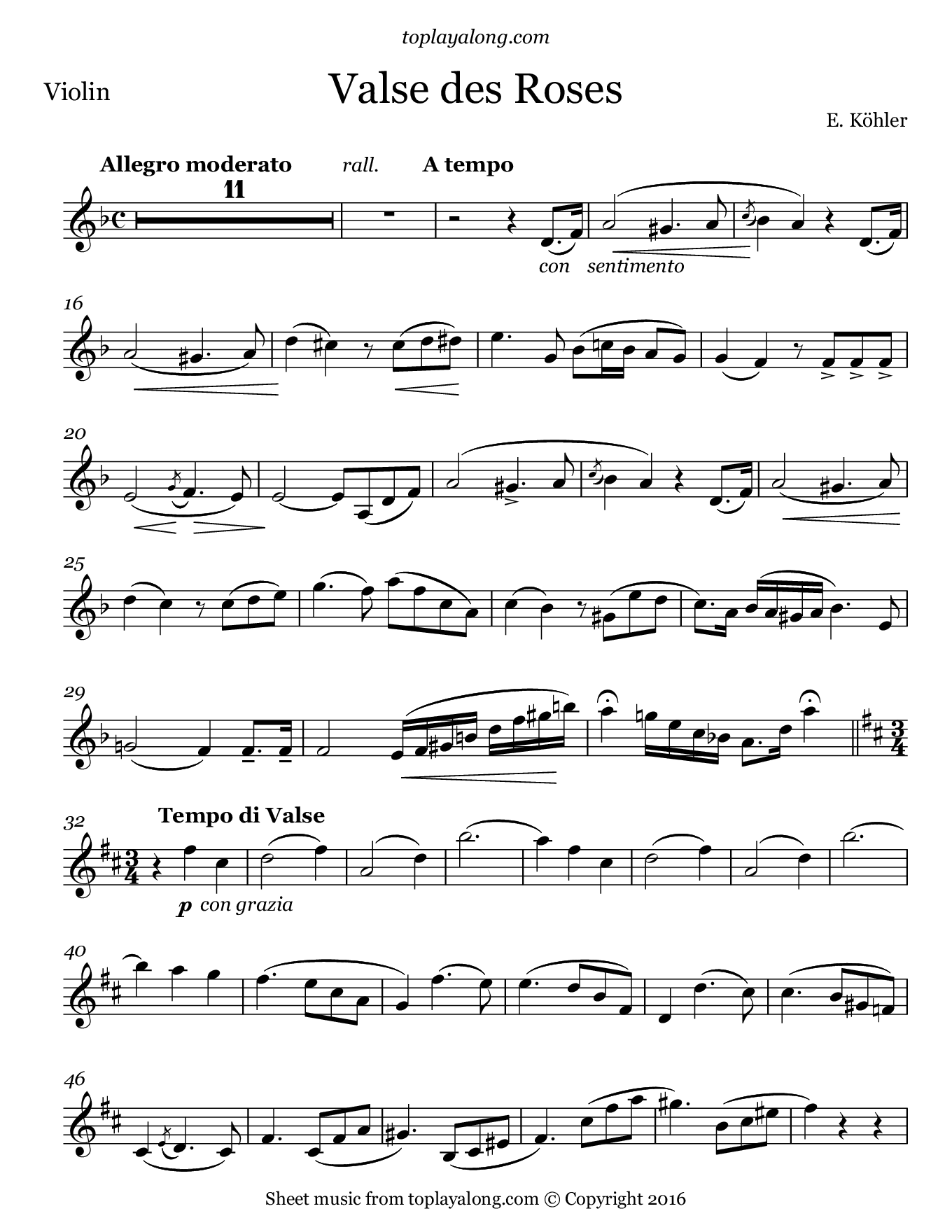 Valse des Roses by Kohler. Sheet music for Violin, page 1.