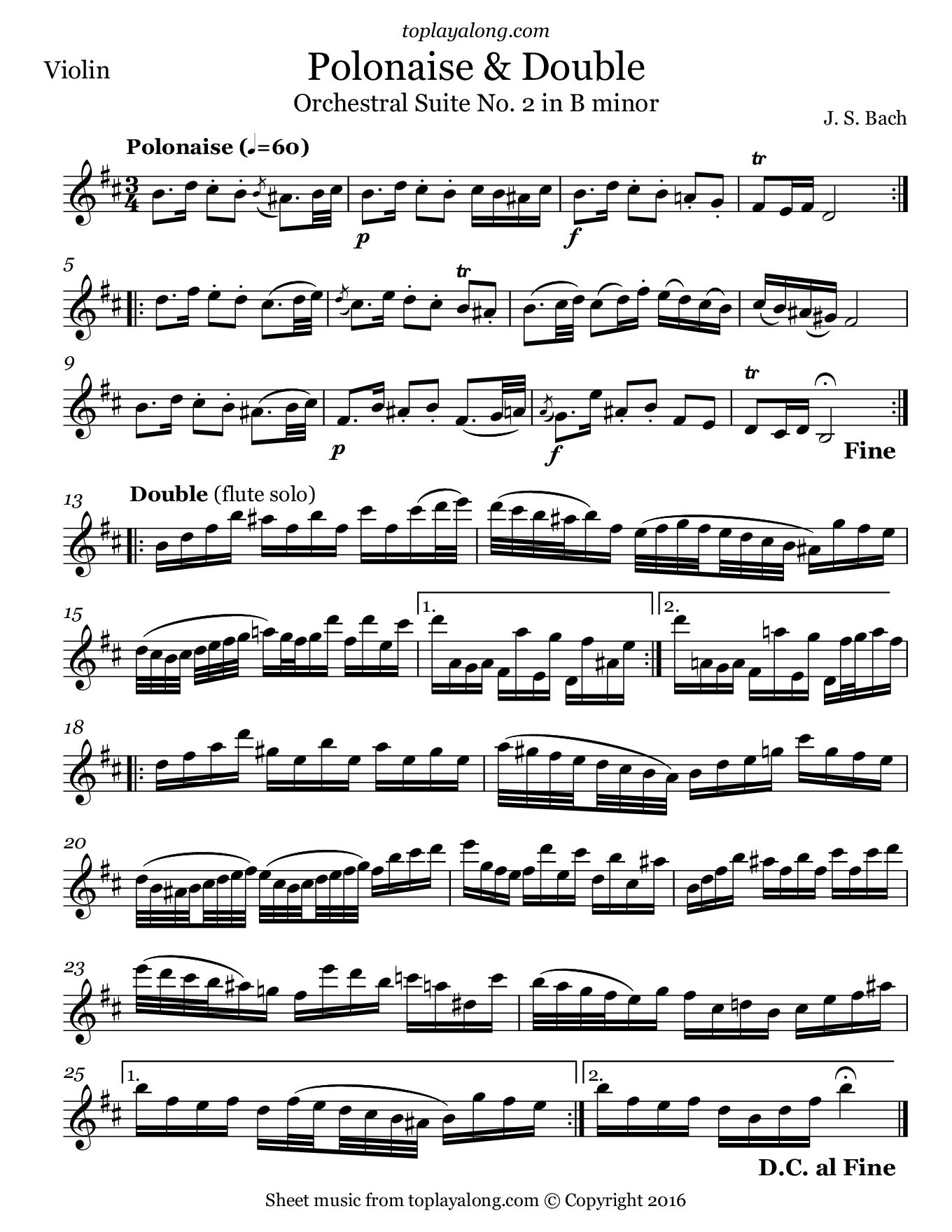 Orchestral Suite No. 2 (V. Polonaise & Double) by J. S. Bach. Sheet music for Violin, page 1.