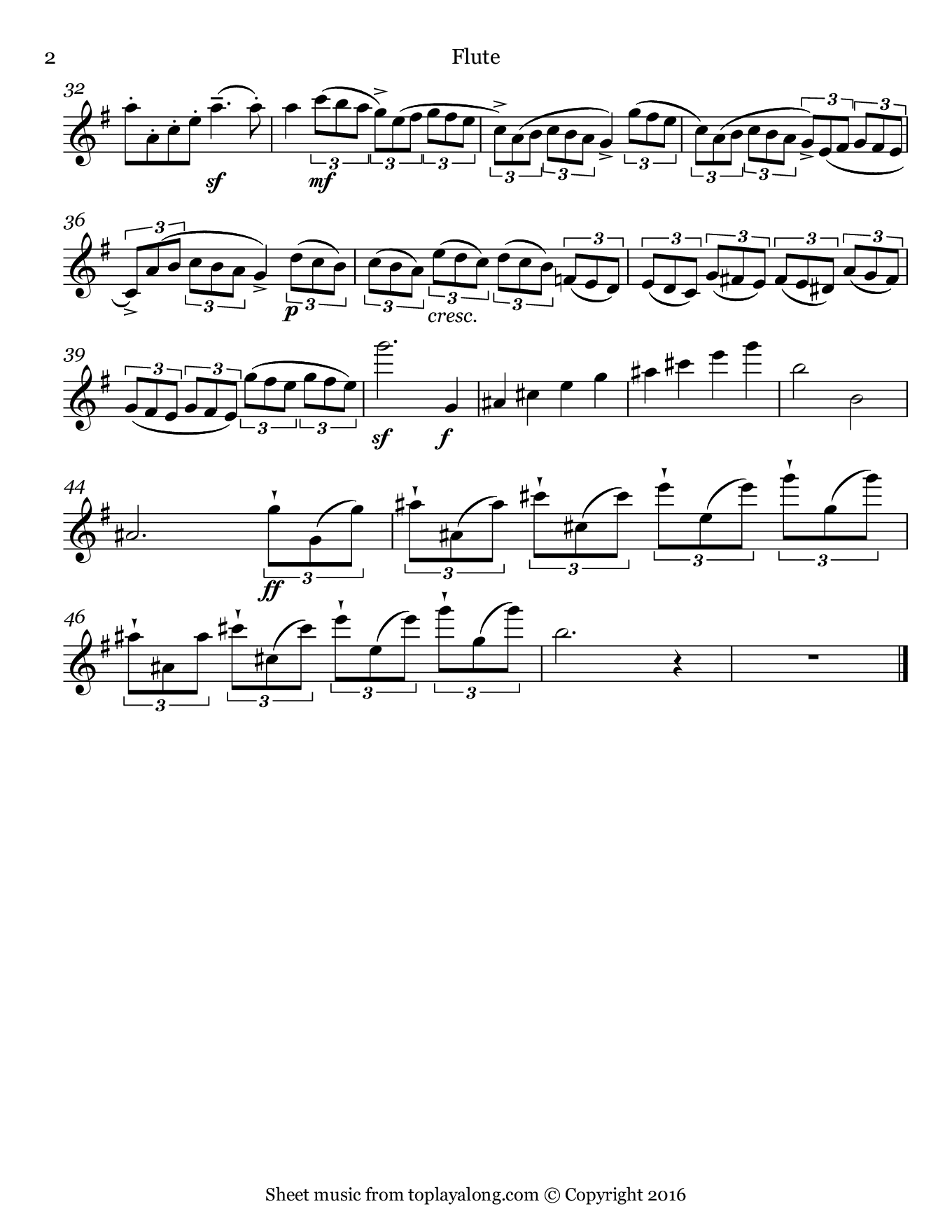 Violin Concerto in E minor, Op. 64 (Theme) by Mendelssohn. Sheet music for Flute, page 2.