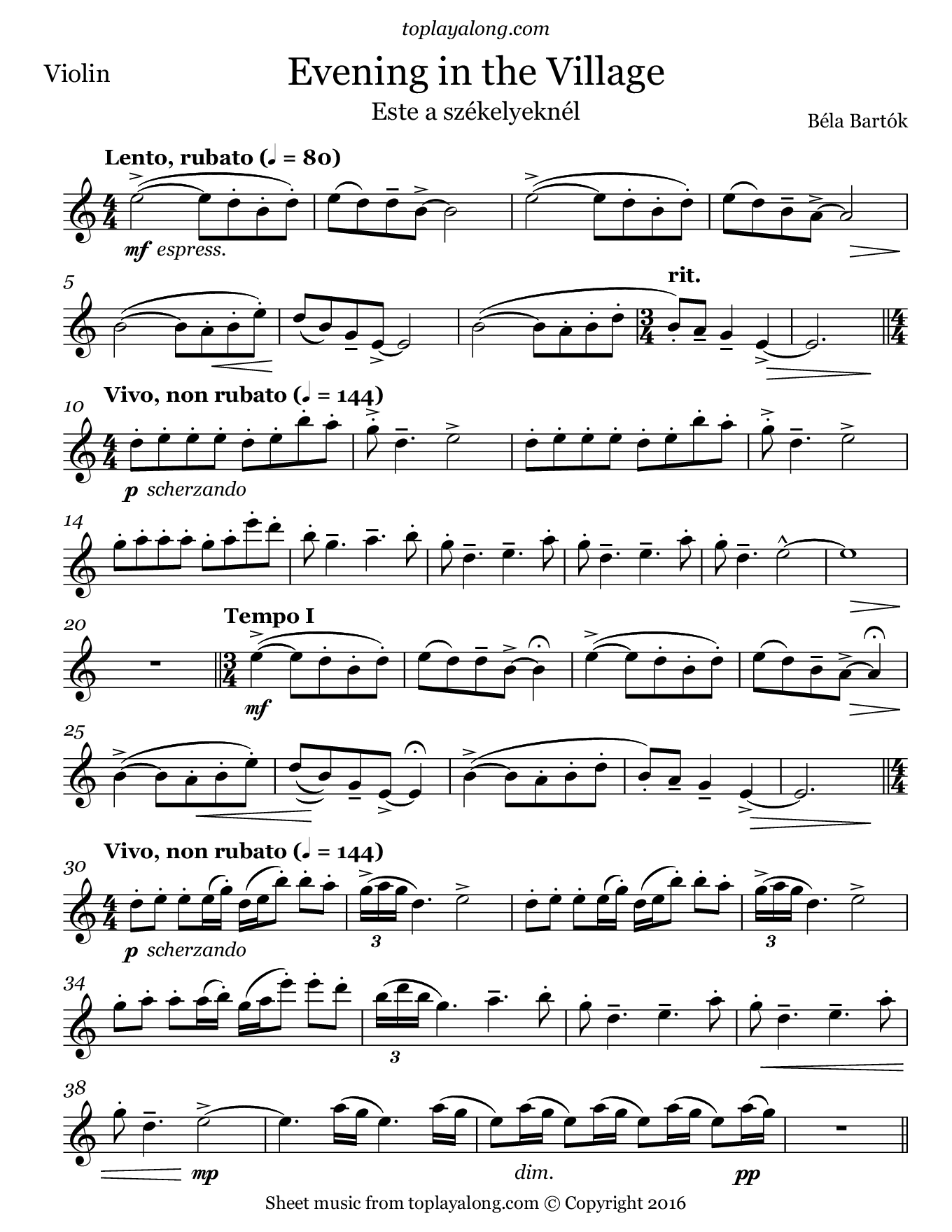 Evening in the Village by Bartok. Sheet music for Violin, page 1.