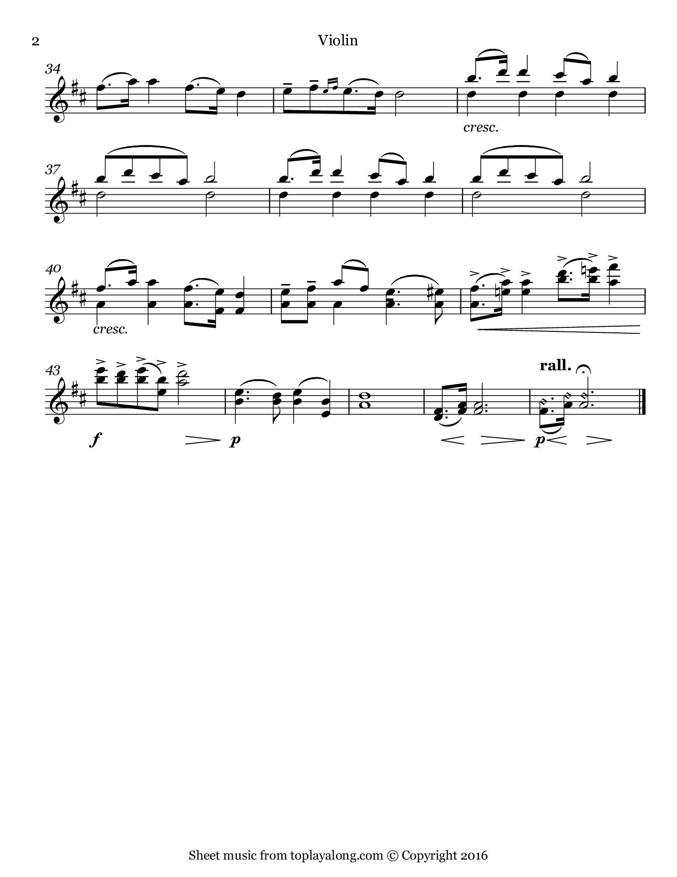 New World Symphony (II. Largo) by Dvorak. Sheet music for Violin, page 2.