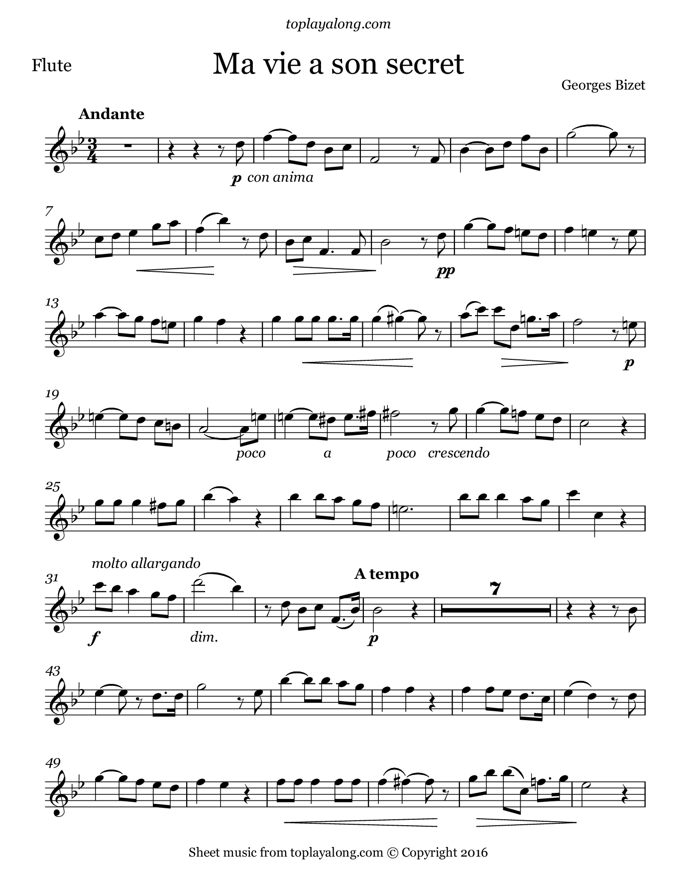 Ma vie a son secret by Bizet. Sheet music for Flute, page 1.