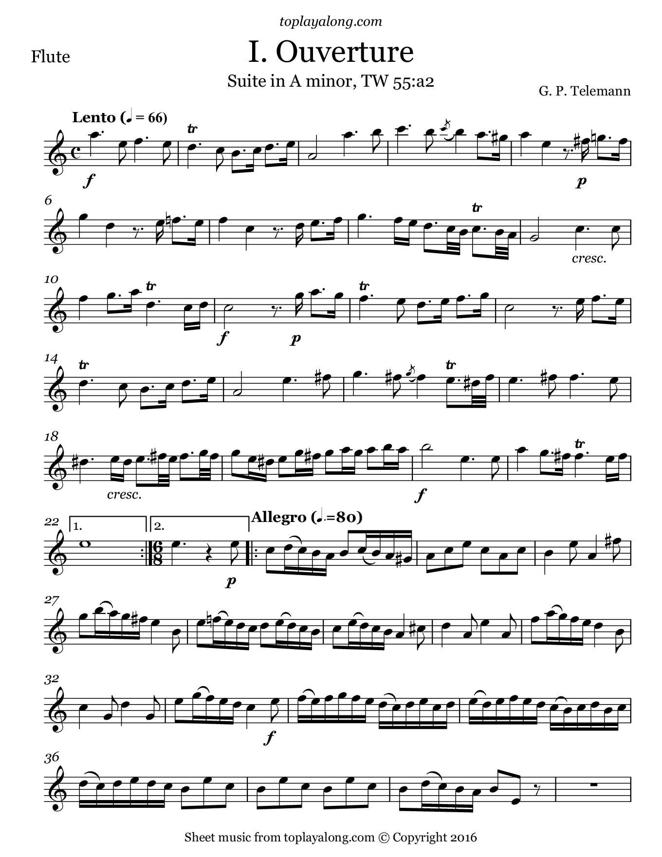 Ouverture from Suite in A minor by Telemann. Sheet music for Flute, page 1.