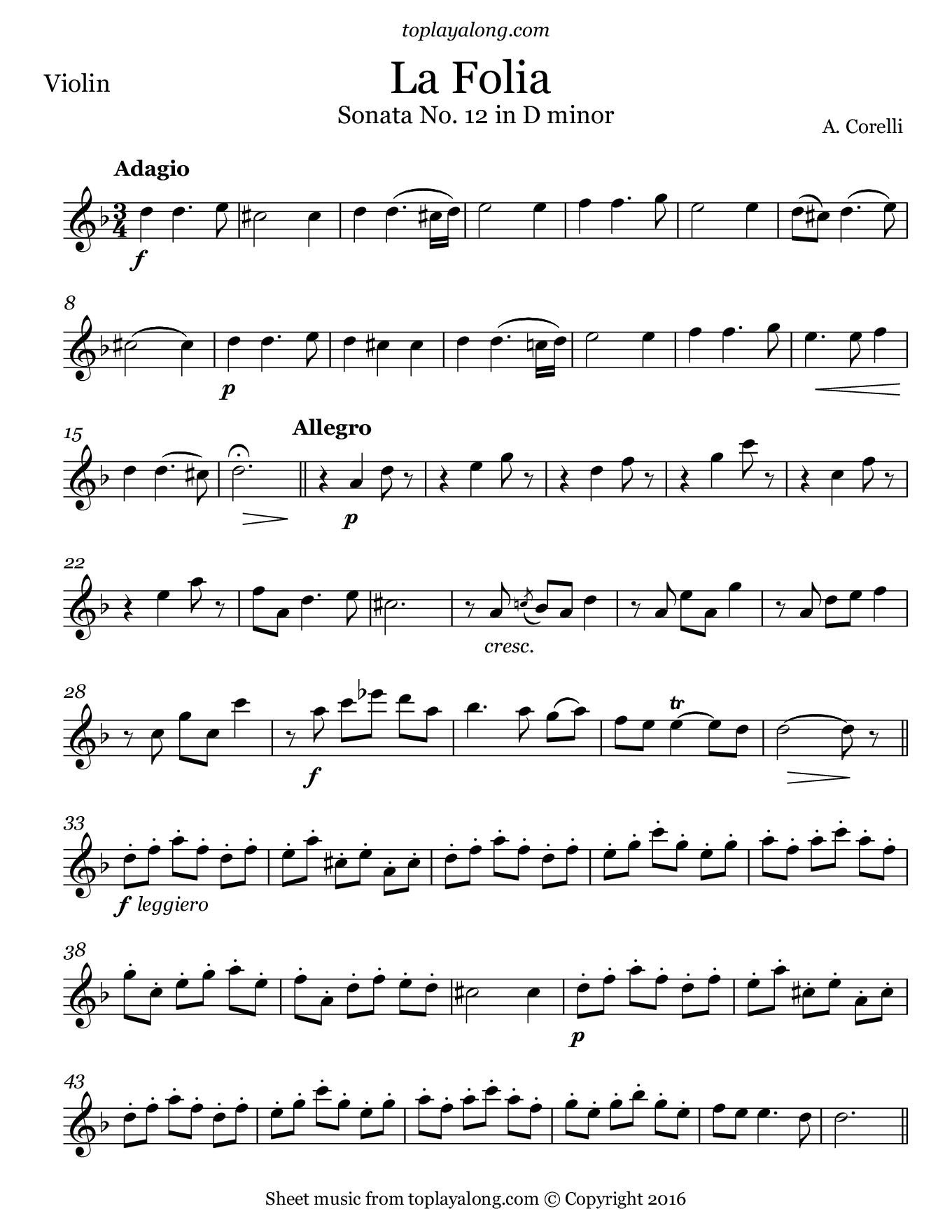 La Folia by Corelli. Sheet music for Violin, page 1.