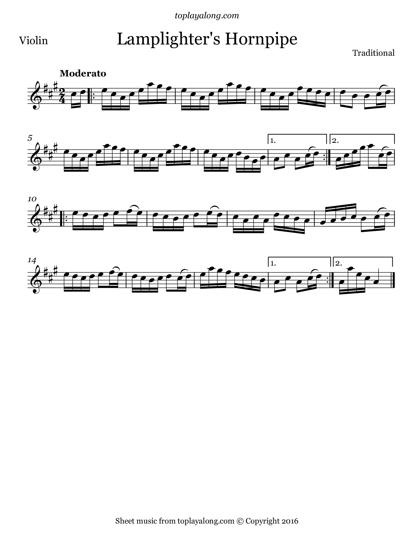 Lamplighter's Hornpipe. Sheet music for Violin, page 1.