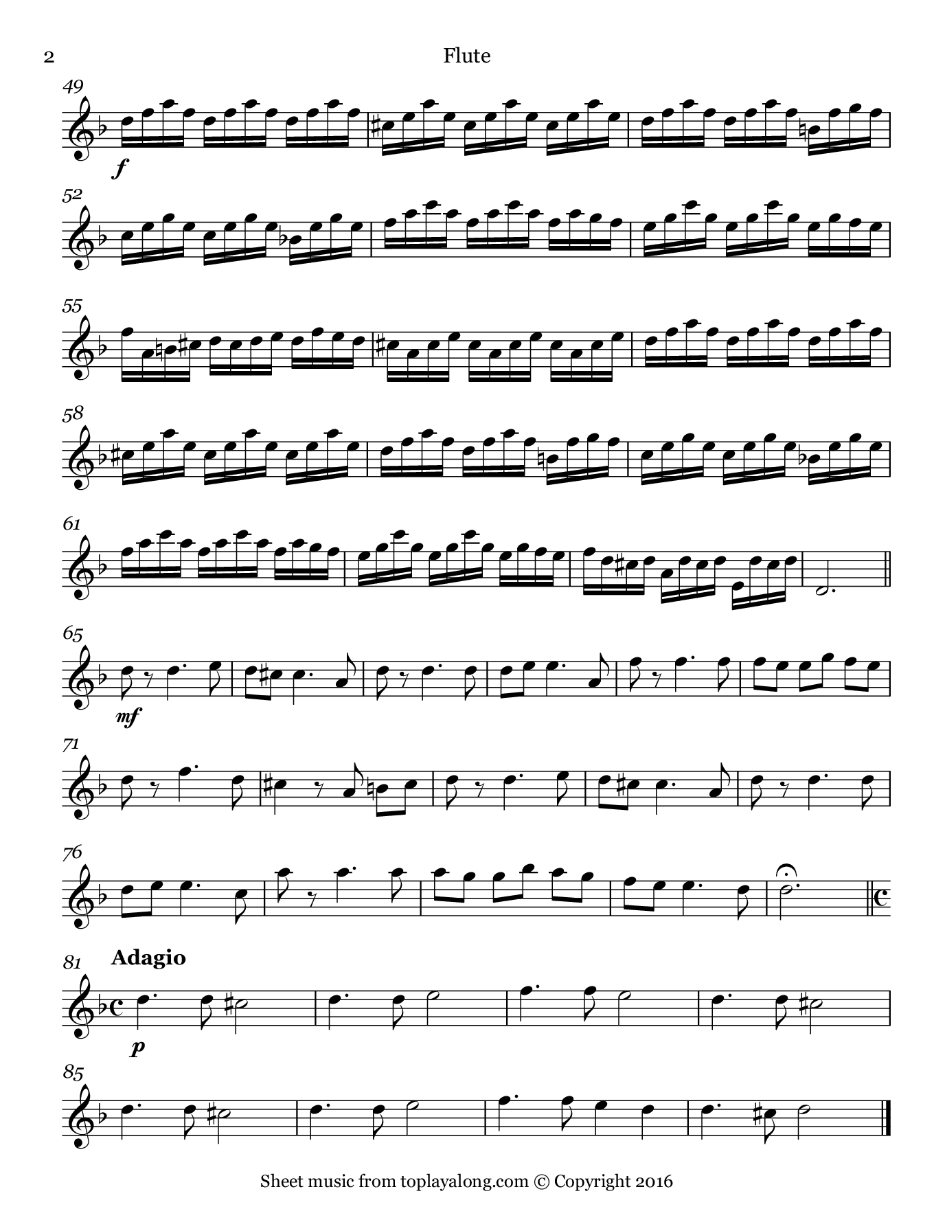 La Folia by Corelli. Sheet music for Flute, page 2.