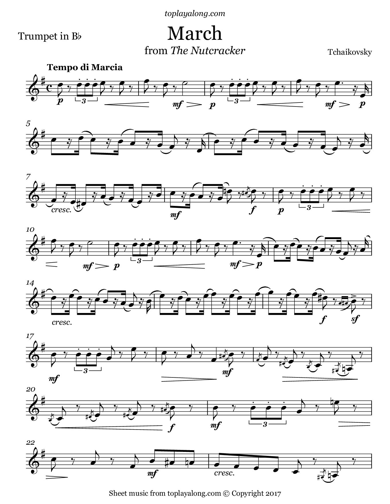 March from The Nutcracker by Tchaikovsky. Sheet music for Trumpet, page 1.