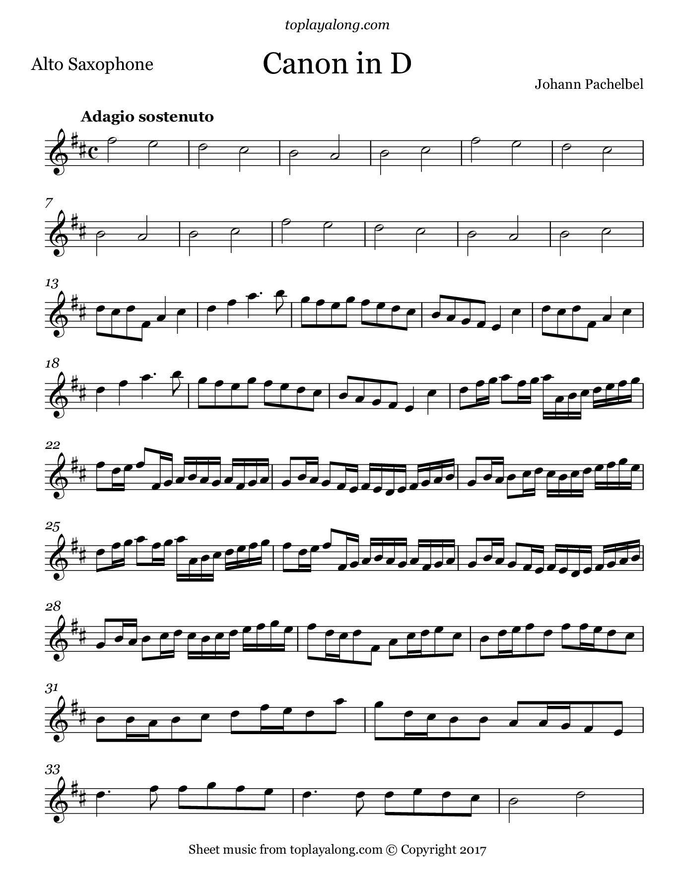 Canon in D by Pachelbel. Sheet music for Alto Sax, page 1.