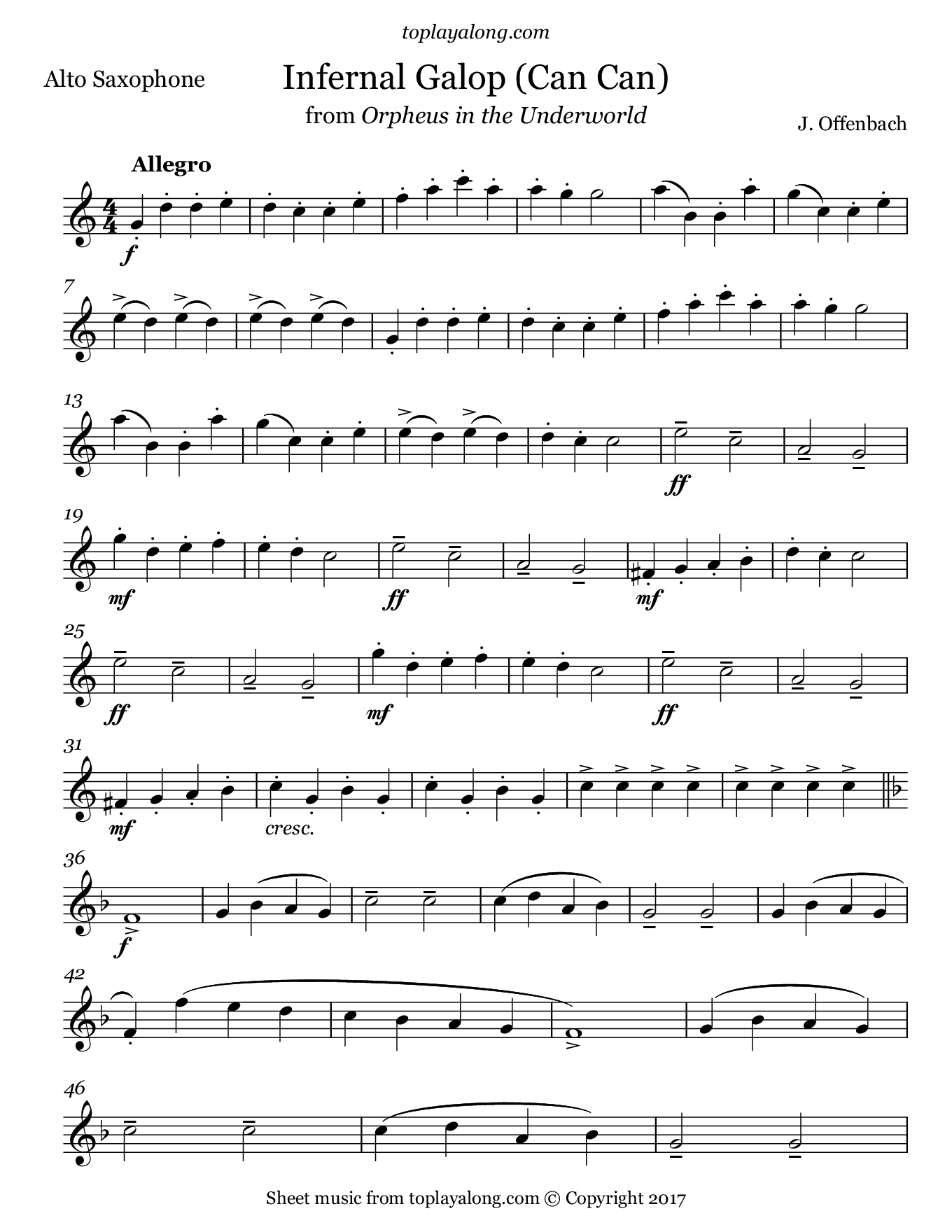 Infernal Galop (Can Can) from Orpheus by Offenbach. Sheet music for Alto Sax, page 1.