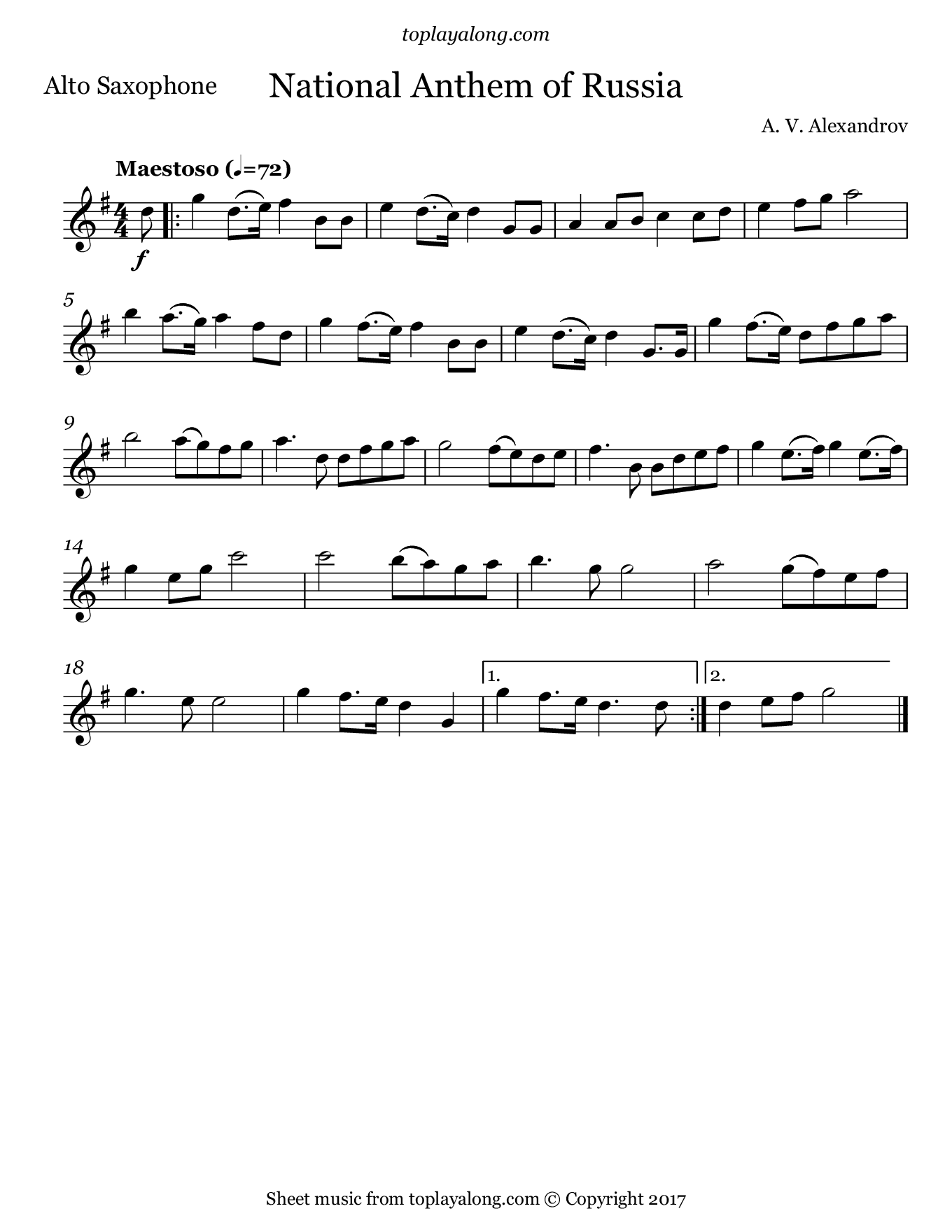 National Anthem of Russia. Sheet music for Alto Sax, page 1.